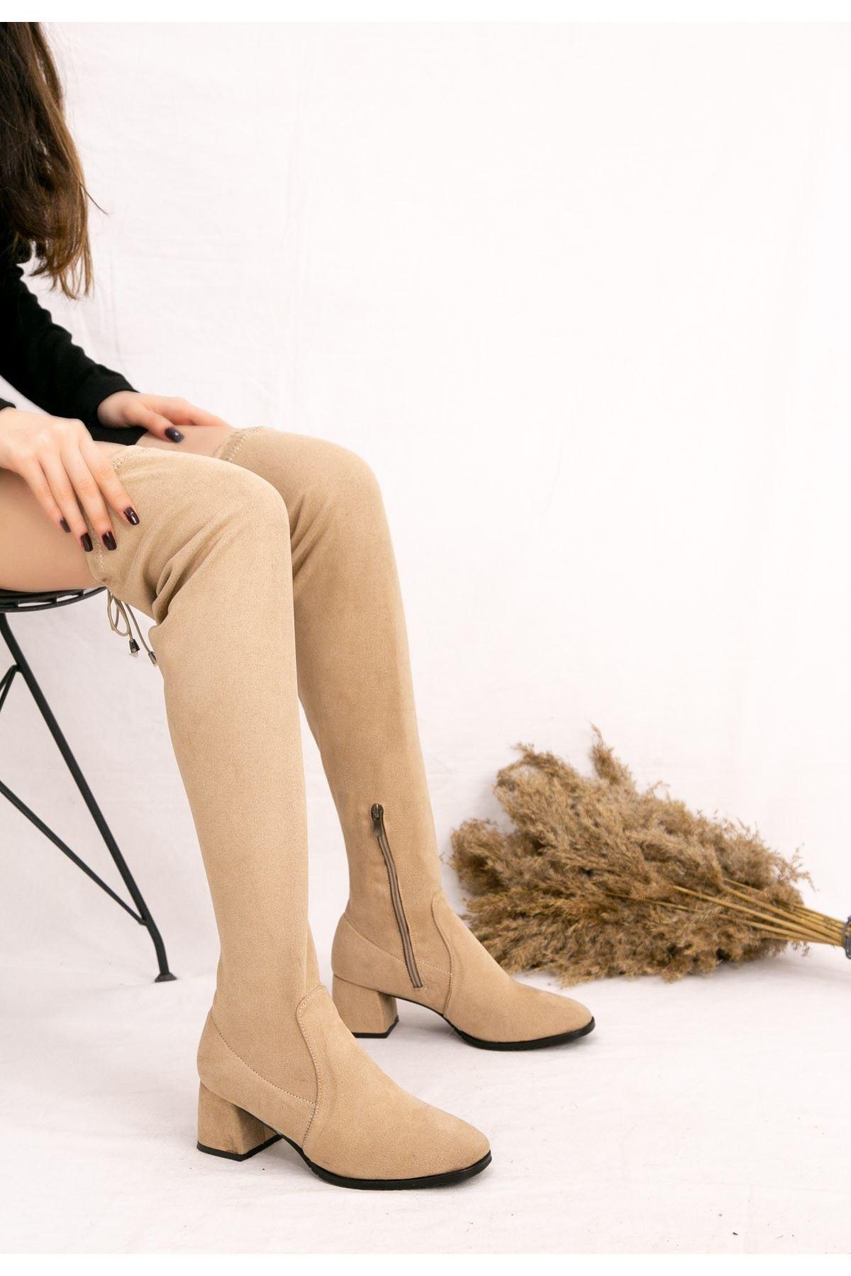 Zelx Vizon Süet Çorap Çizme