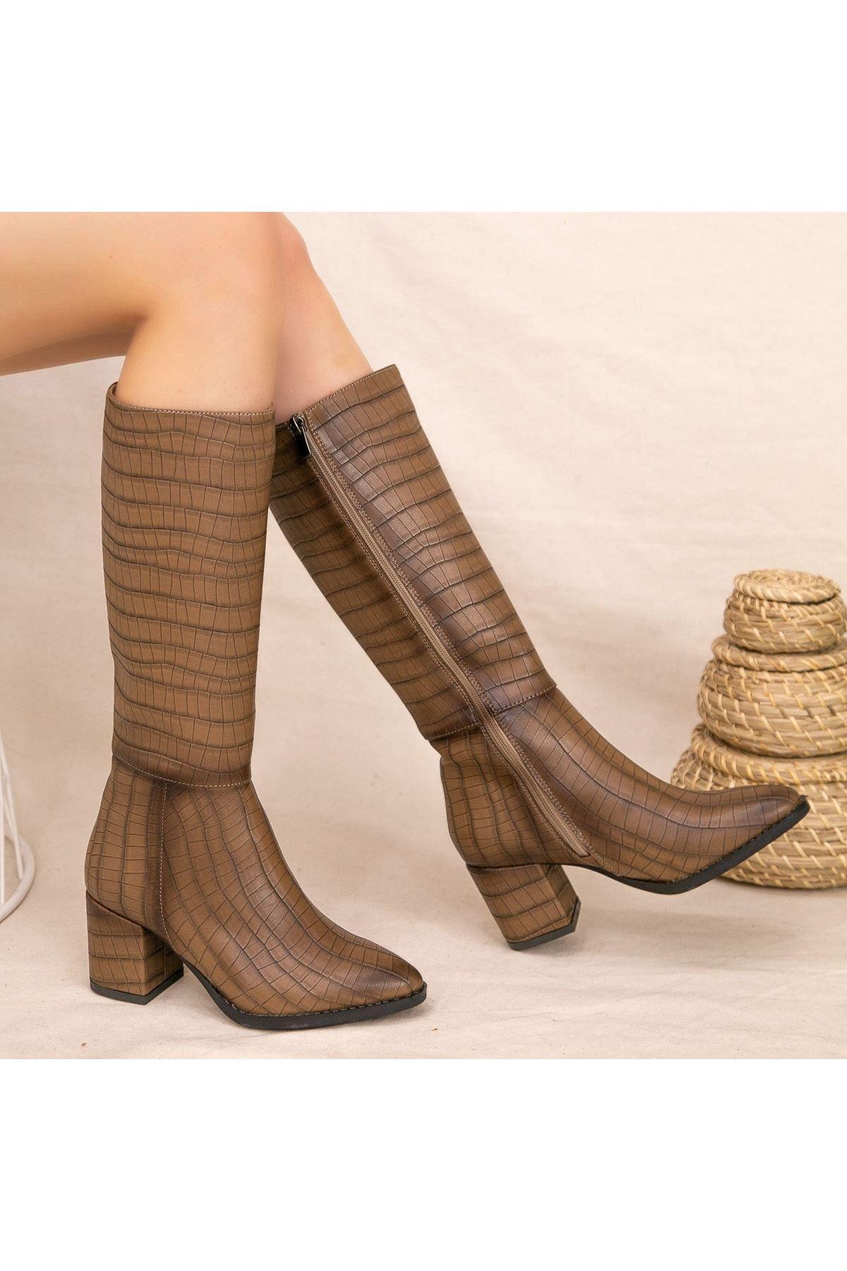 Fesk Vizon Cilt Desenli Çizme
