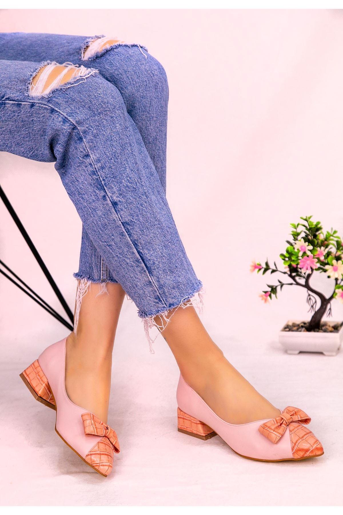 Alli Pudra Cilt Topuklu Ayakkabı