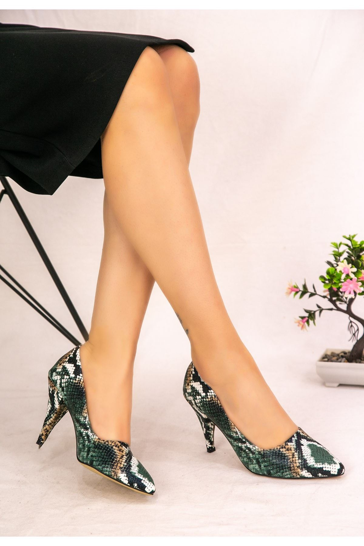 Anim Yılan Derili Stiletto Ayakkabı