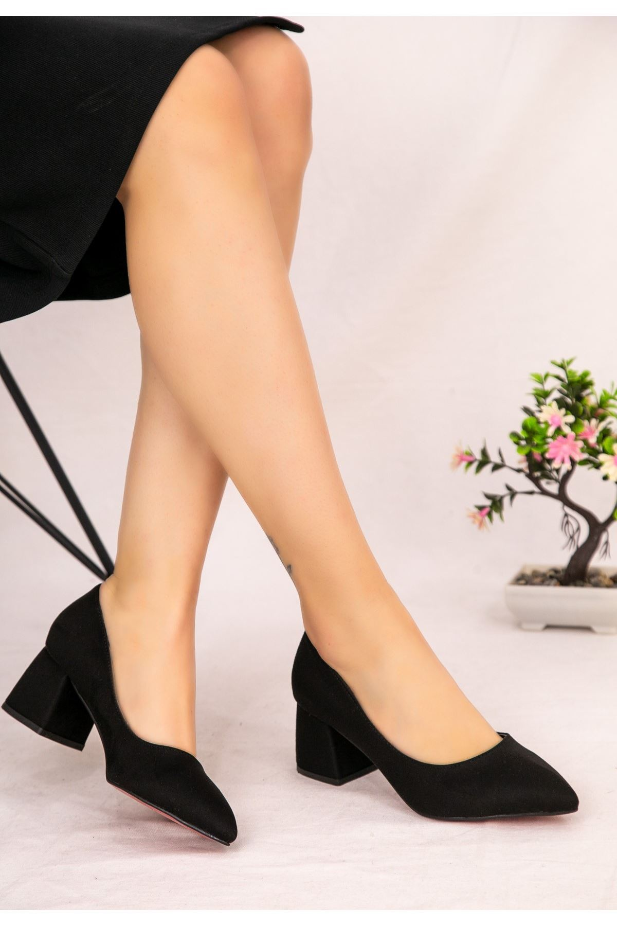 Seis Siyah Süet Topuklu Ayakkabı
