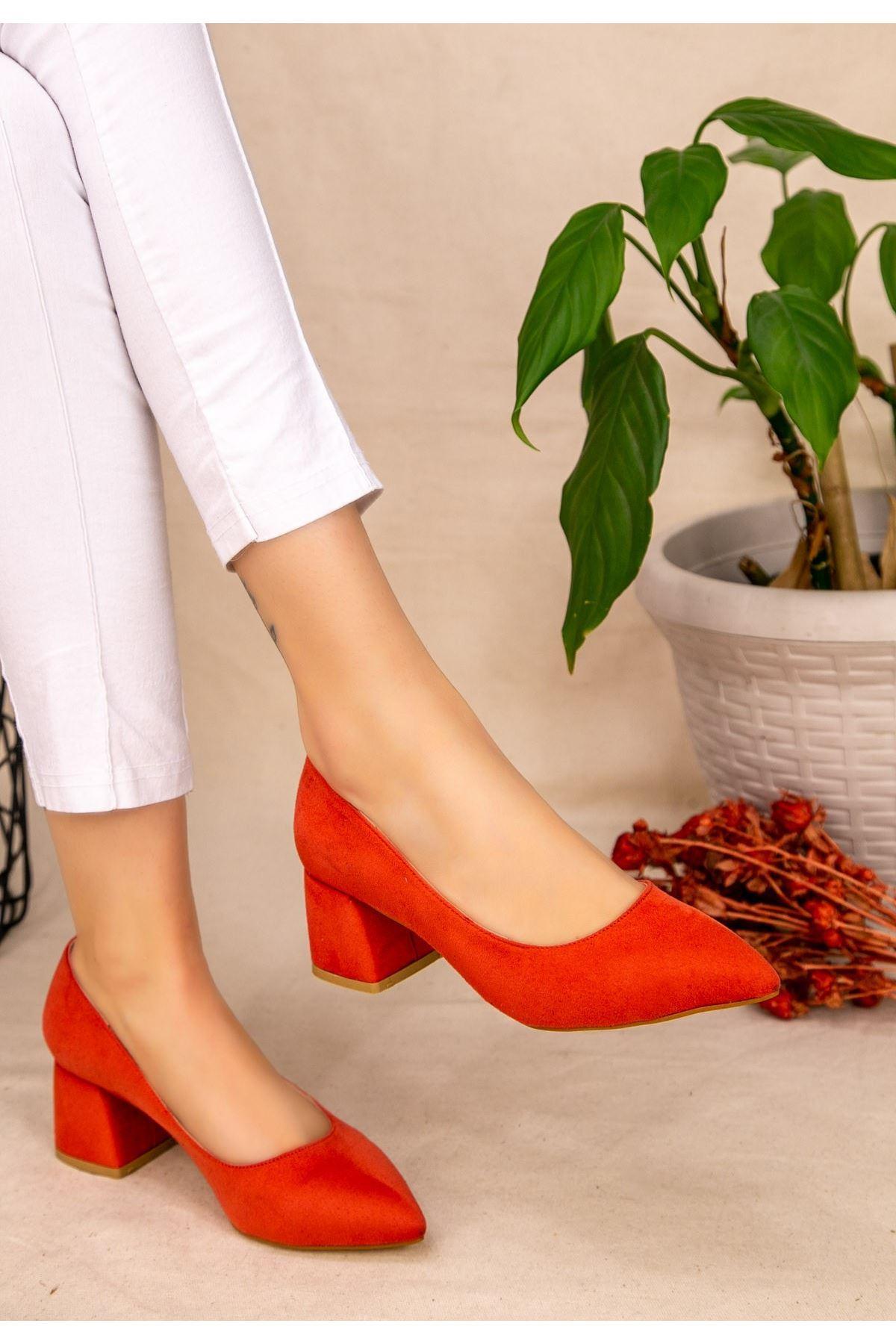Seis Turuncu Süet Topuklu Ayakkabı