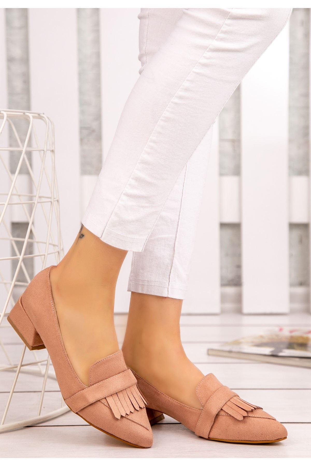 Wesp Pudra Süet Topuklu Ayakkabı