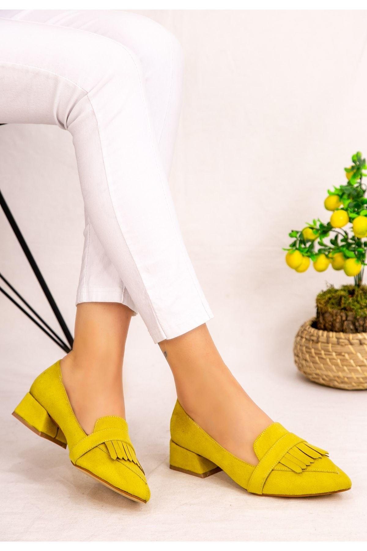 Wesp Sarı Süet Topuklu Ayakkabı