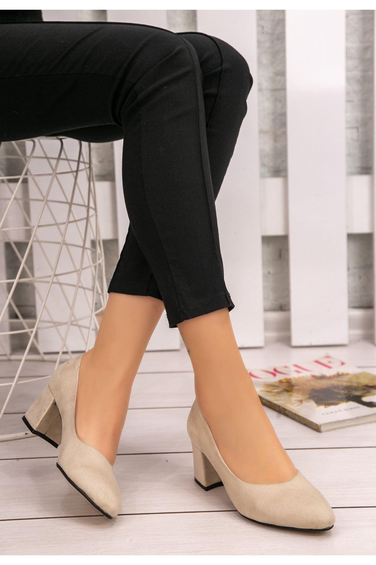 Azol Krem Süet Topuklu Ayakkabı