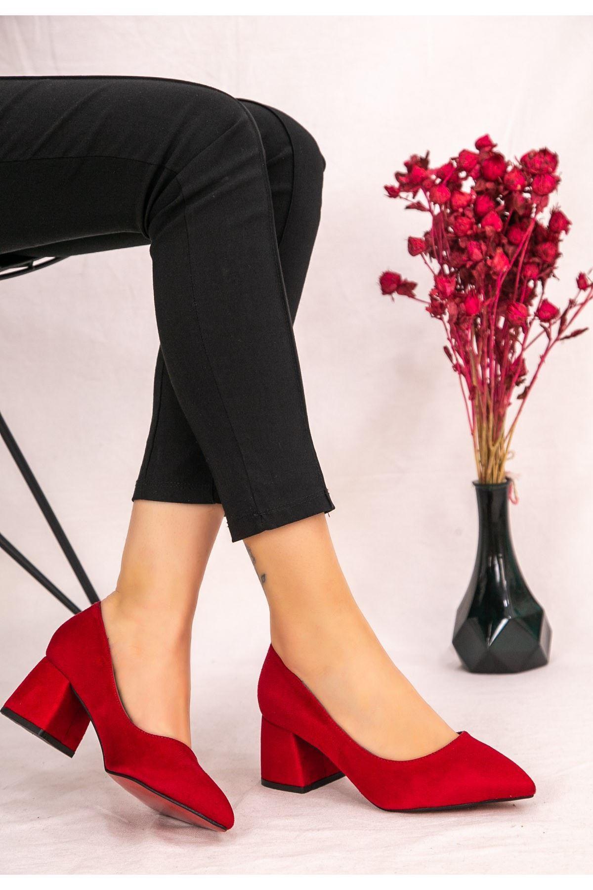 Seis Kırmızı Süet Topuklu Ayakkabı