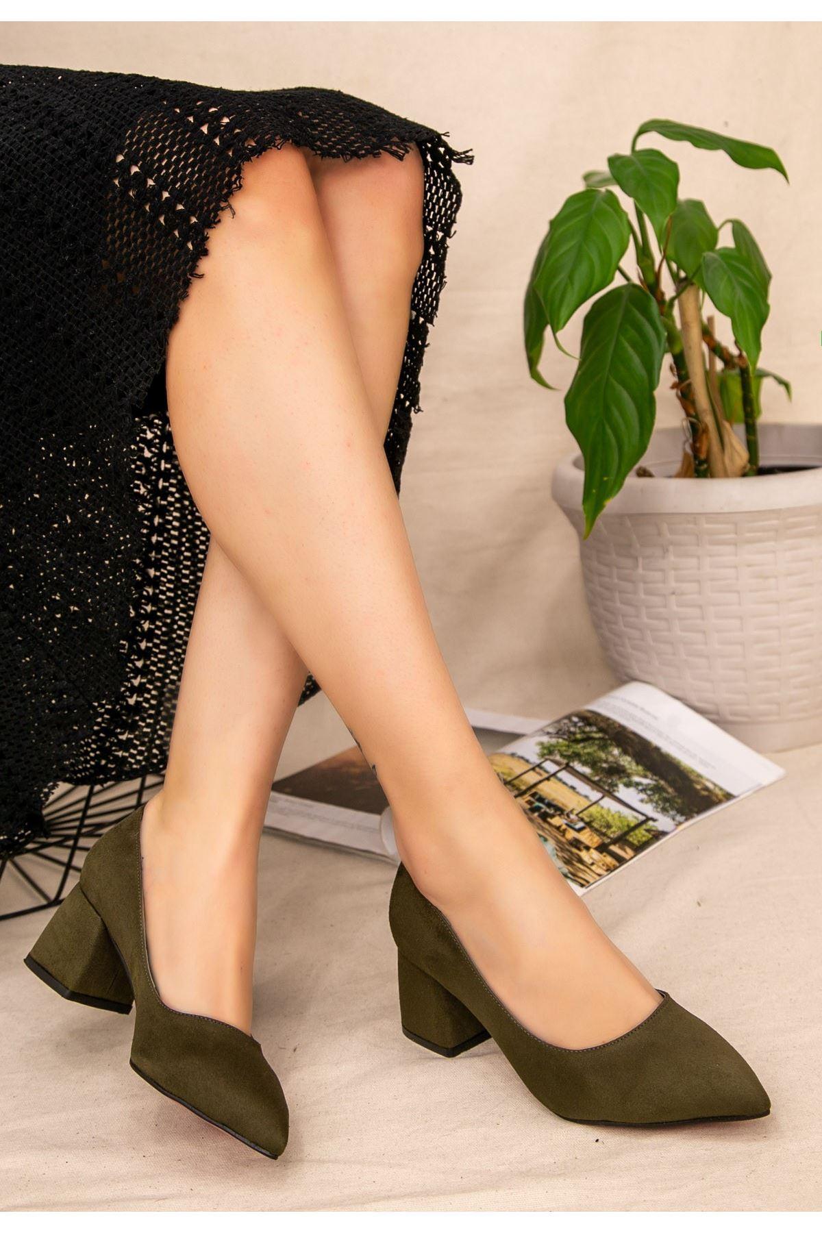 Seis Haki Yeşil Süet Topuklu Ayakkabı
