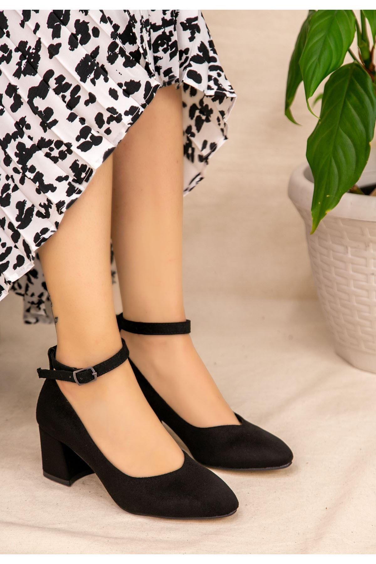 Naen Siyah Süet Topuklu Ayakkabı