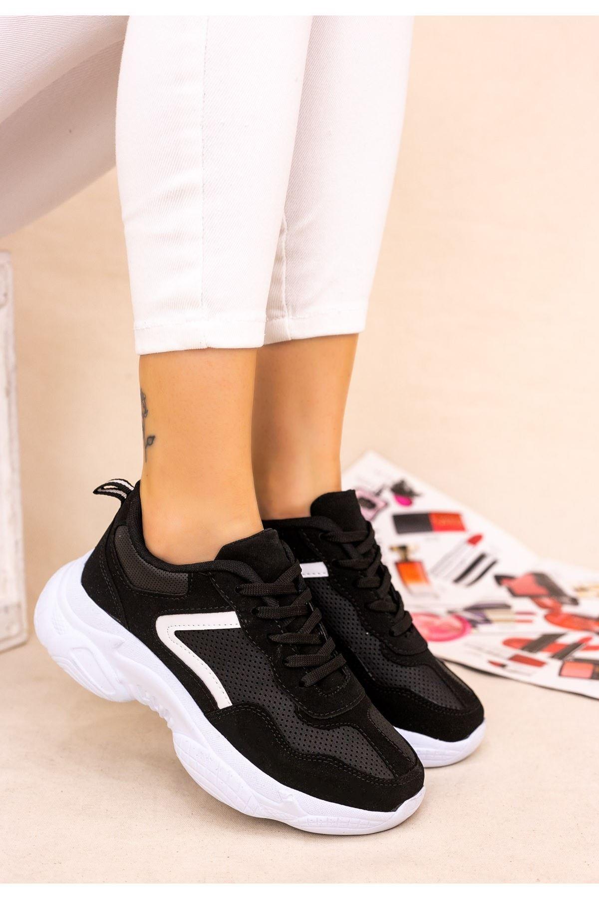 Jomox Siyah Süet Beyaz Detaylı Spor Ayakkabı