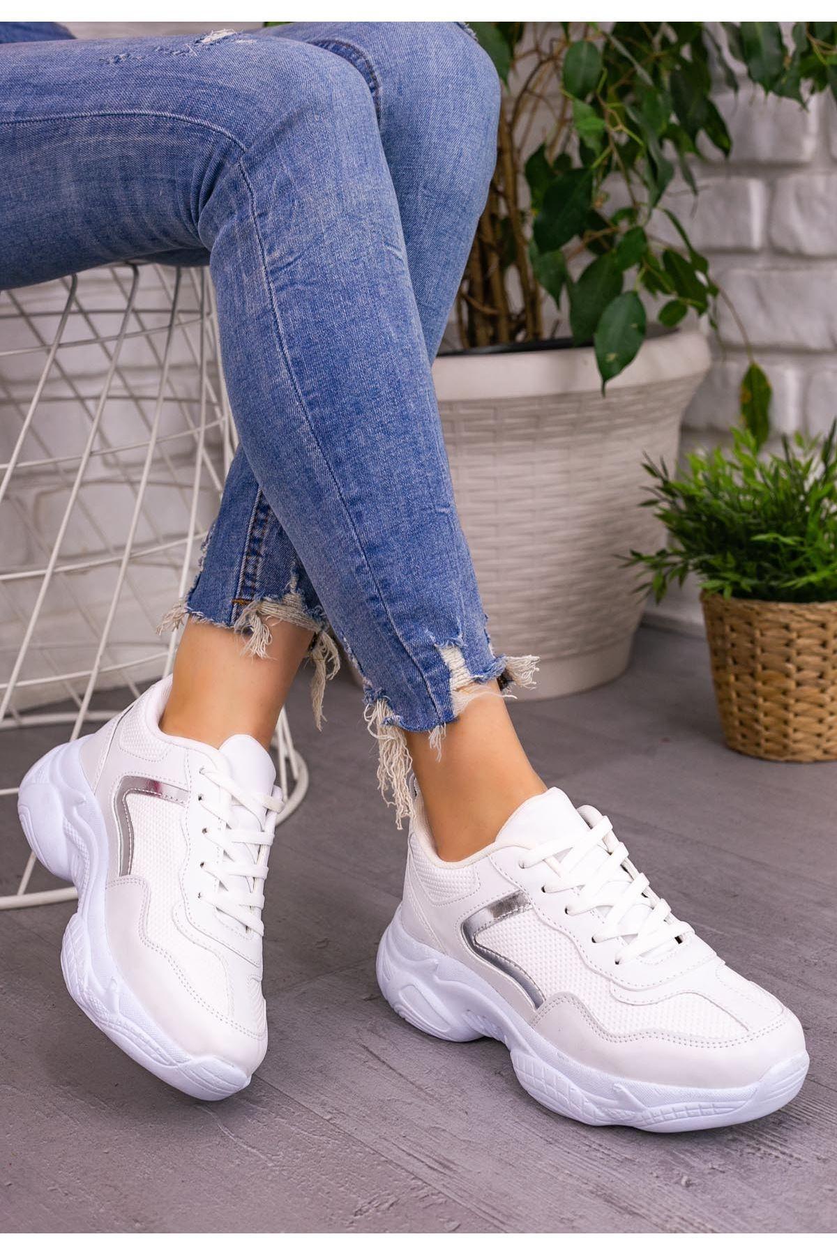 Jomox Beyaz Cilt Gümüş Detaylı Spor Ayakkabı