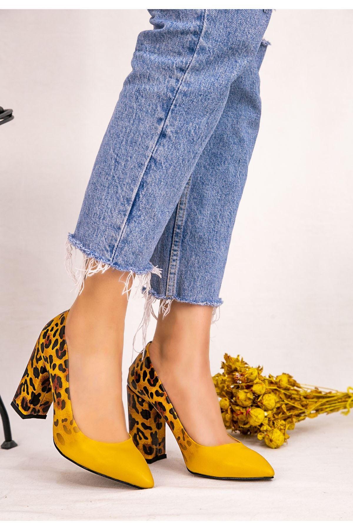 Rmy Hardal Cilt Leopar Detaylı Topuklu Ayakkabı