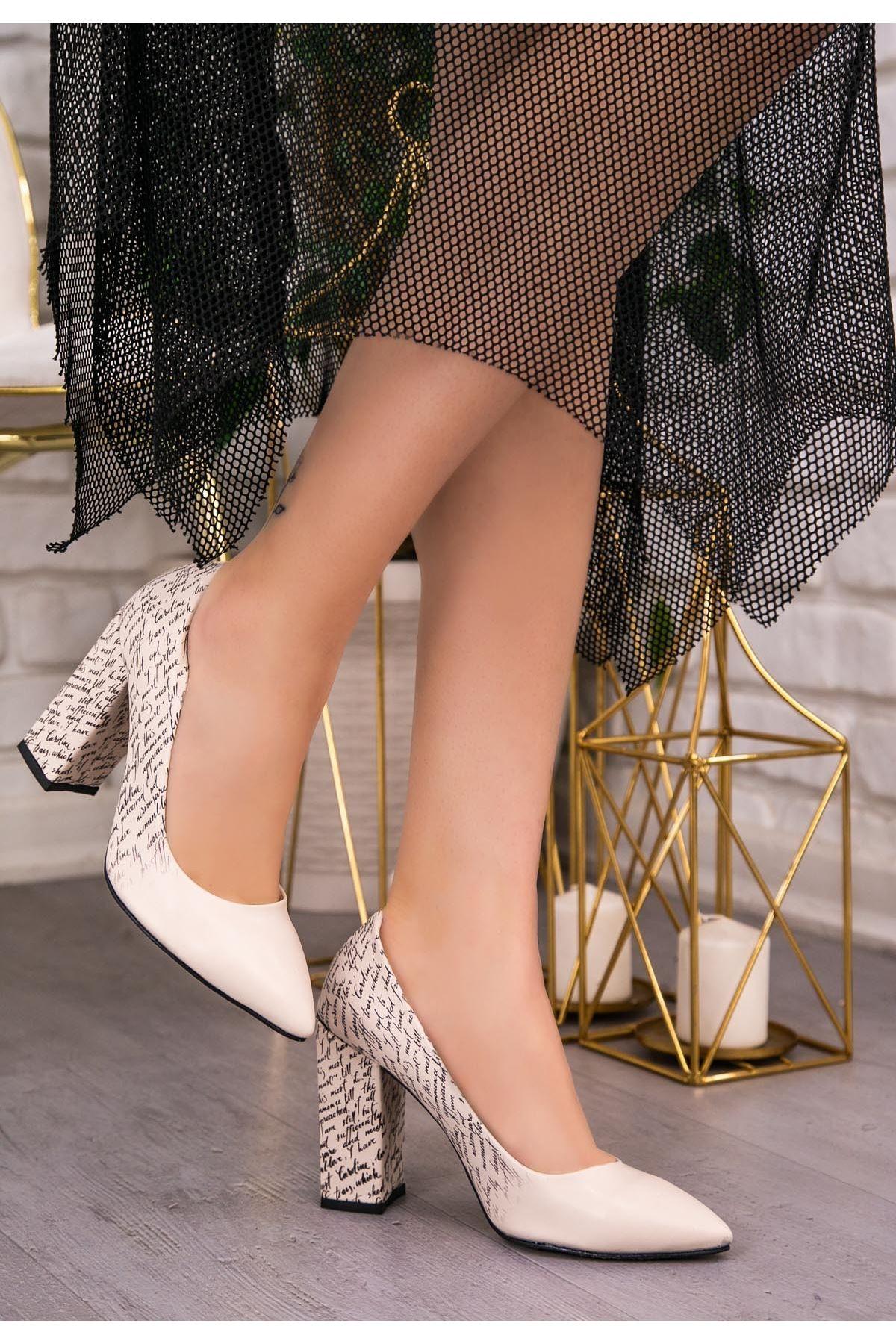 Rmy Krem Cilt Yazı Detaylı Topuklu Ayakkabı