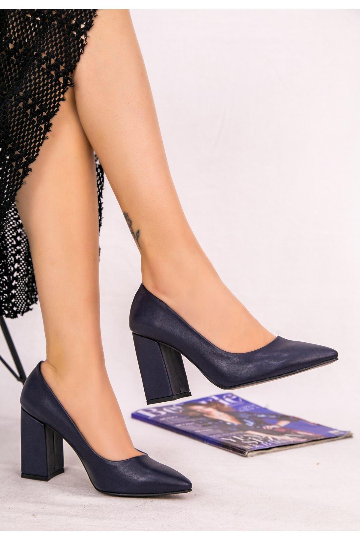 Sest Lacivert Cilt Topuklu Ayakkabı