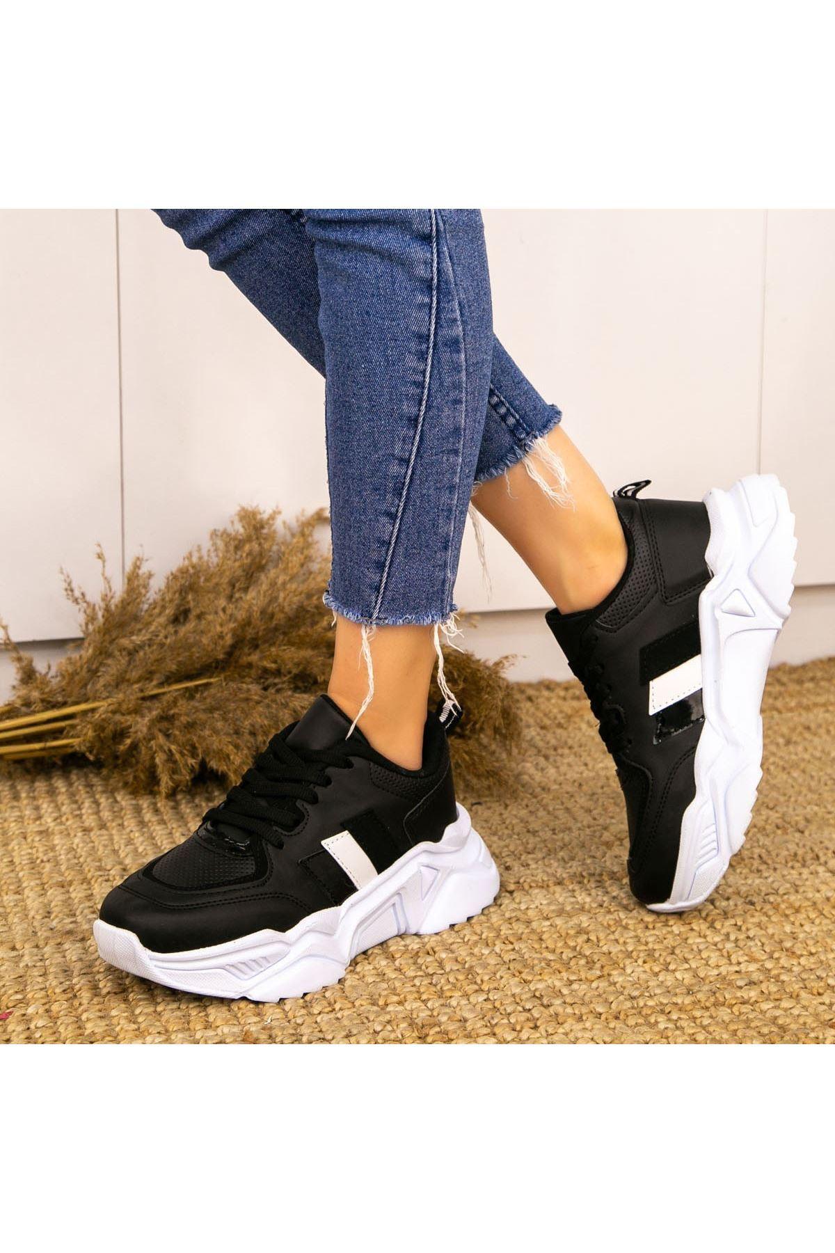 Guldy Siyah Cilt Bağcıklı Spor Ayakkabı
