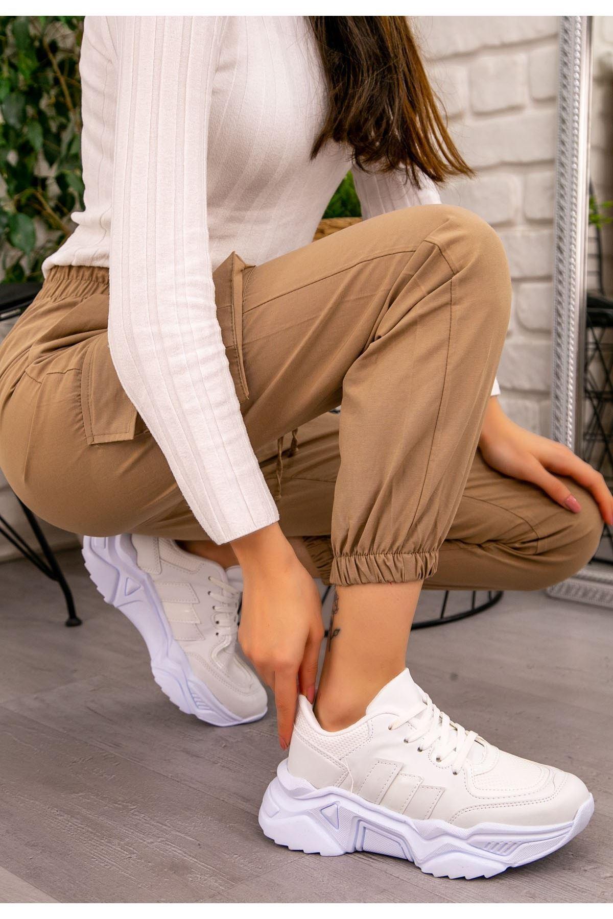 Guldy Beyaz Cilt Bağcıklı Spor Ayakkabı
