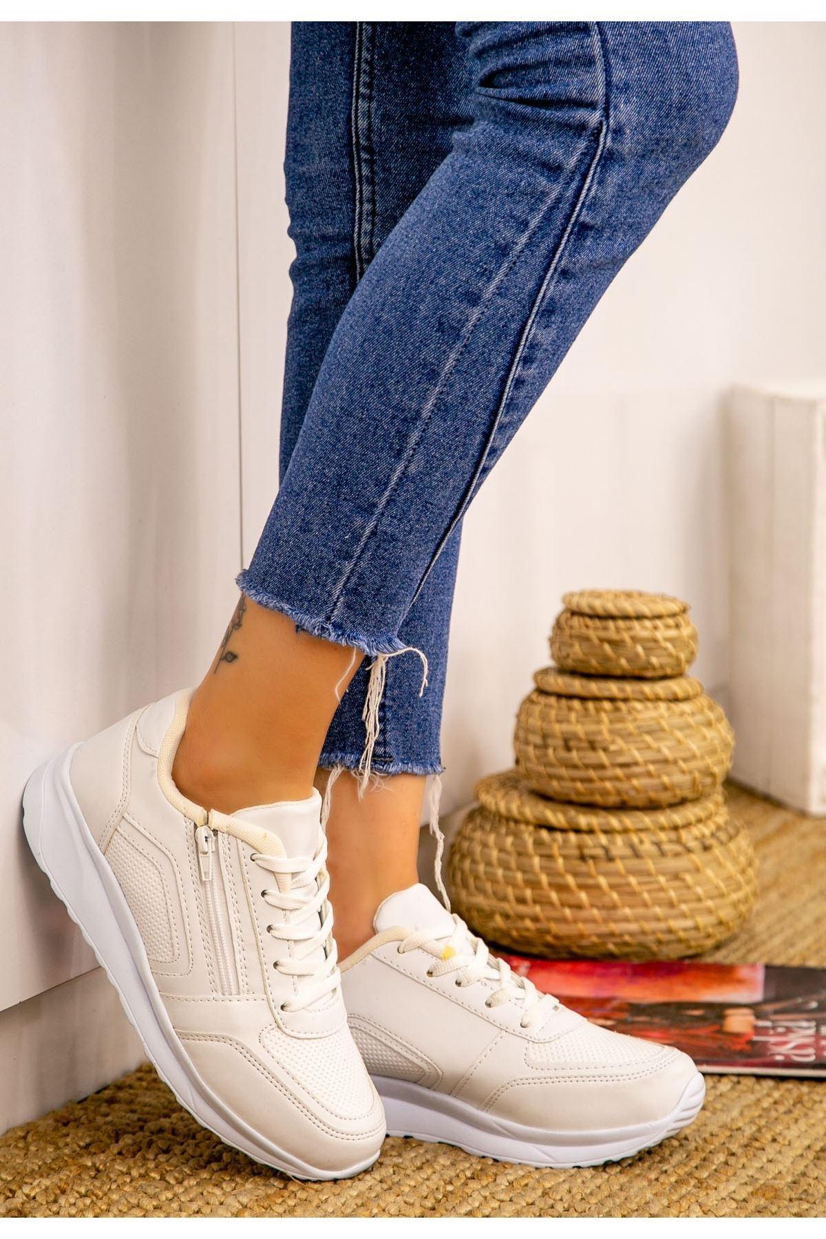 Warm Beyaz Cilt Spor Ayakkabı
