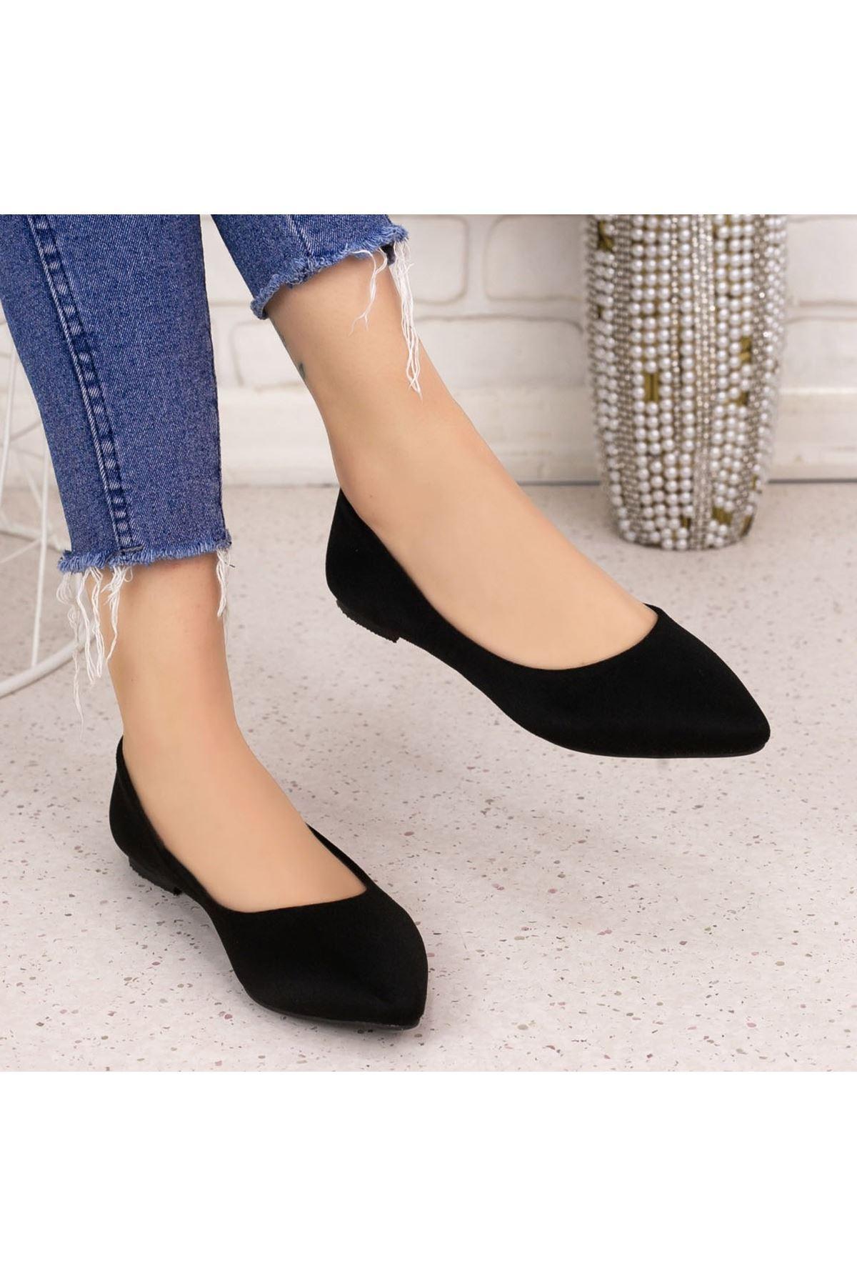 Vidi Siyah Süet Babet Ayakkabı