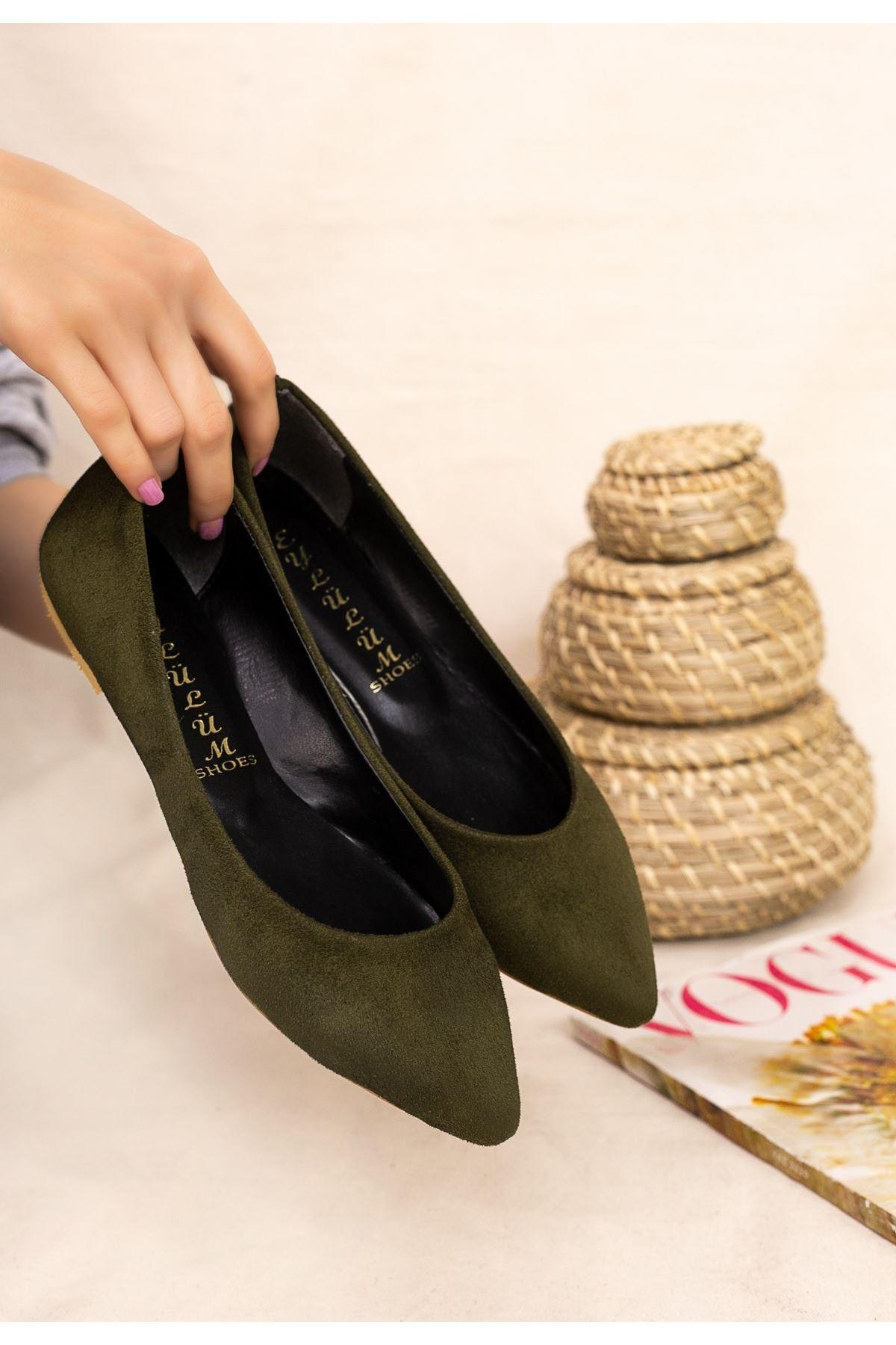 Vidi Haki Yeşil Süet Babet Ayakkabı