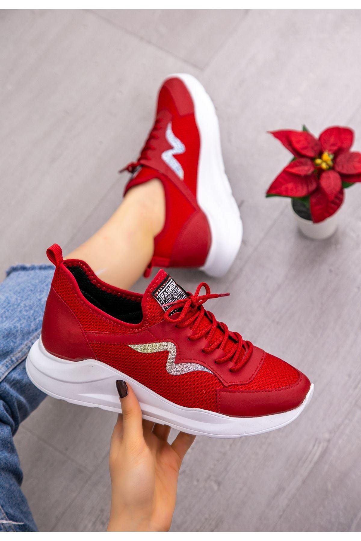 Acri Kırmızı Cilt Bağcıklı Spor Ayakkabı