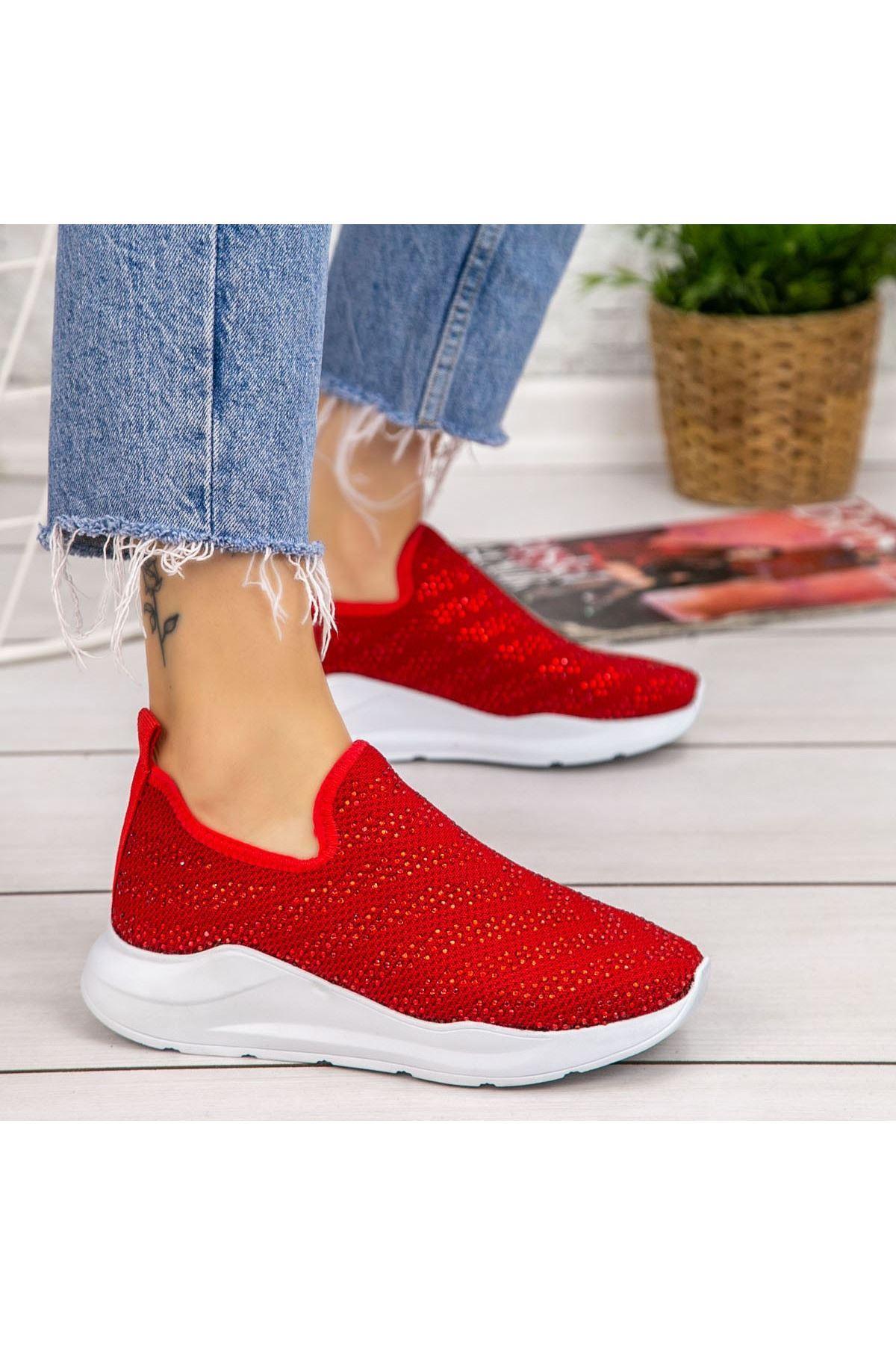 Fend Kırmızı Streç Spor Ayakkabı