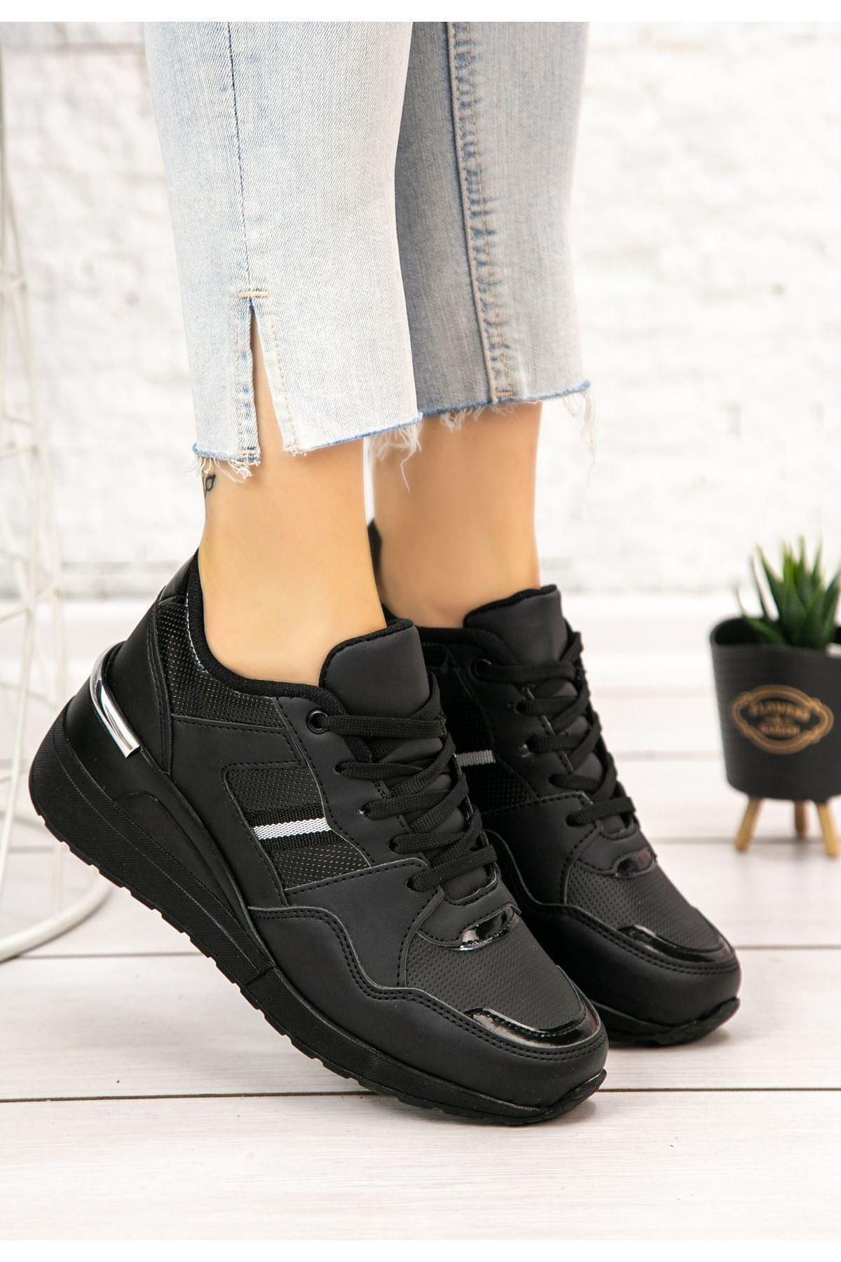 Dux Siyah Cilt Bağcıklı Spor Ayakkabı