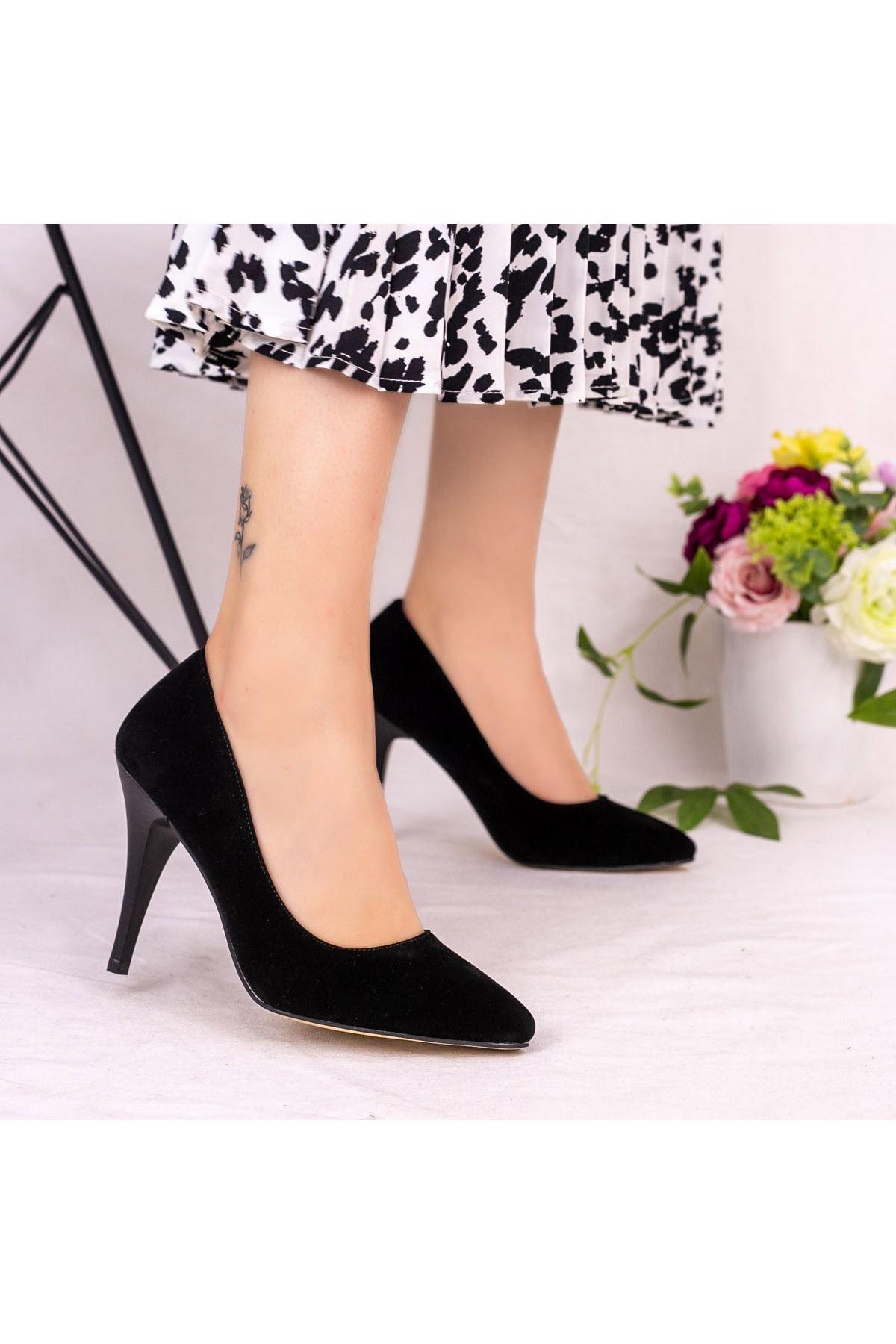 Ocox Siyah Süet Stiletto Ayakkabı