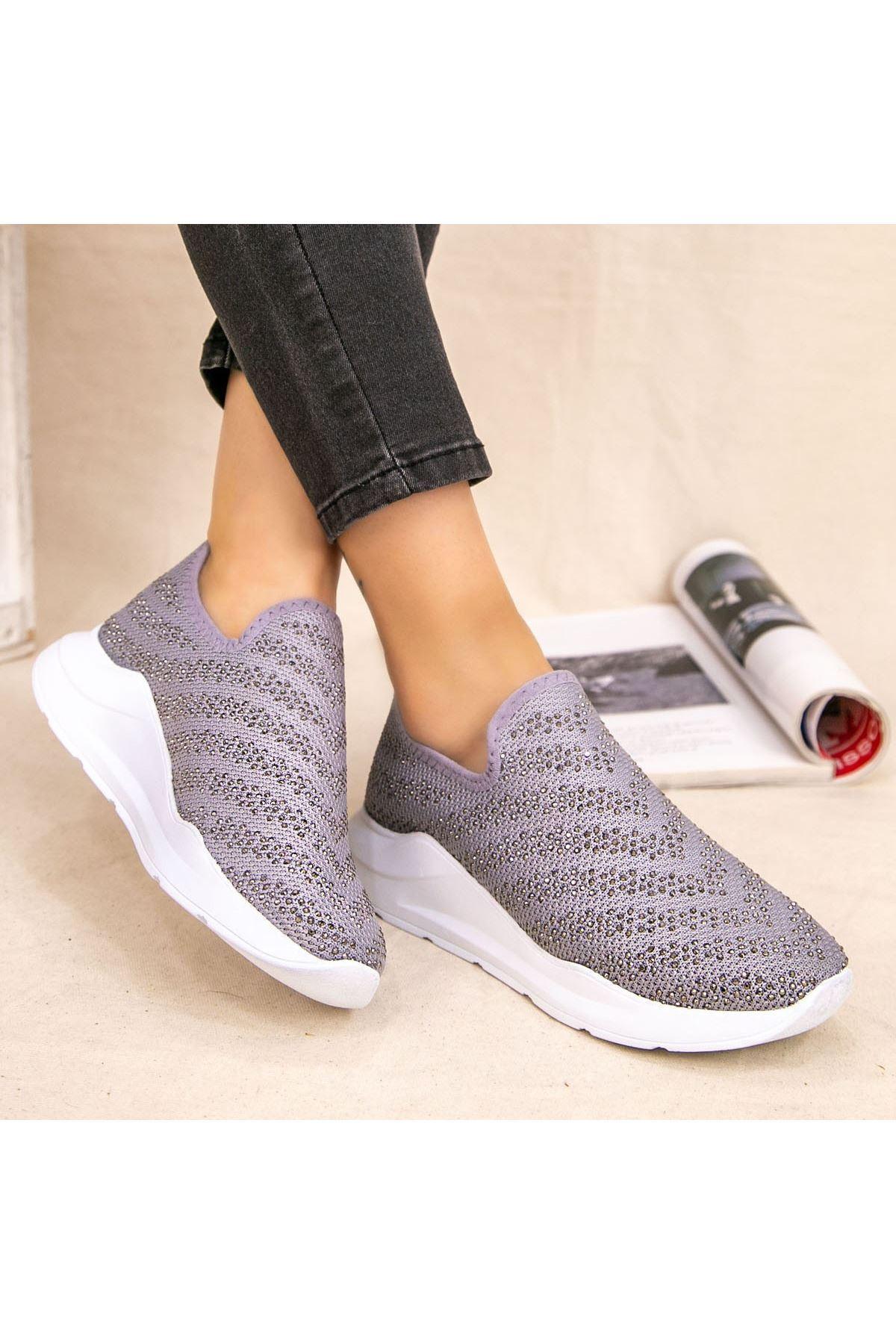 Fend Gri Streç Spor Ayakkabı