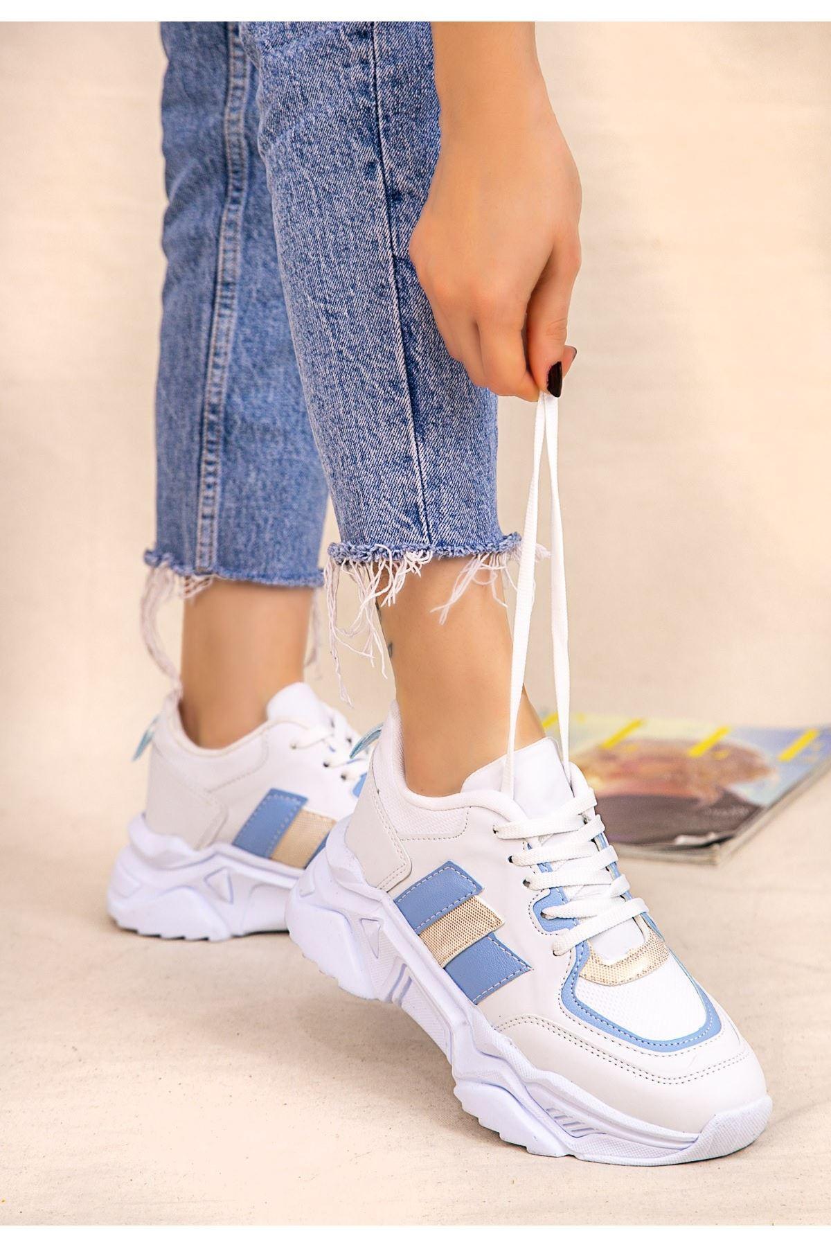 Guldy Beyaz Cilt Bebe Mavisi Detaylı Ayakkabı