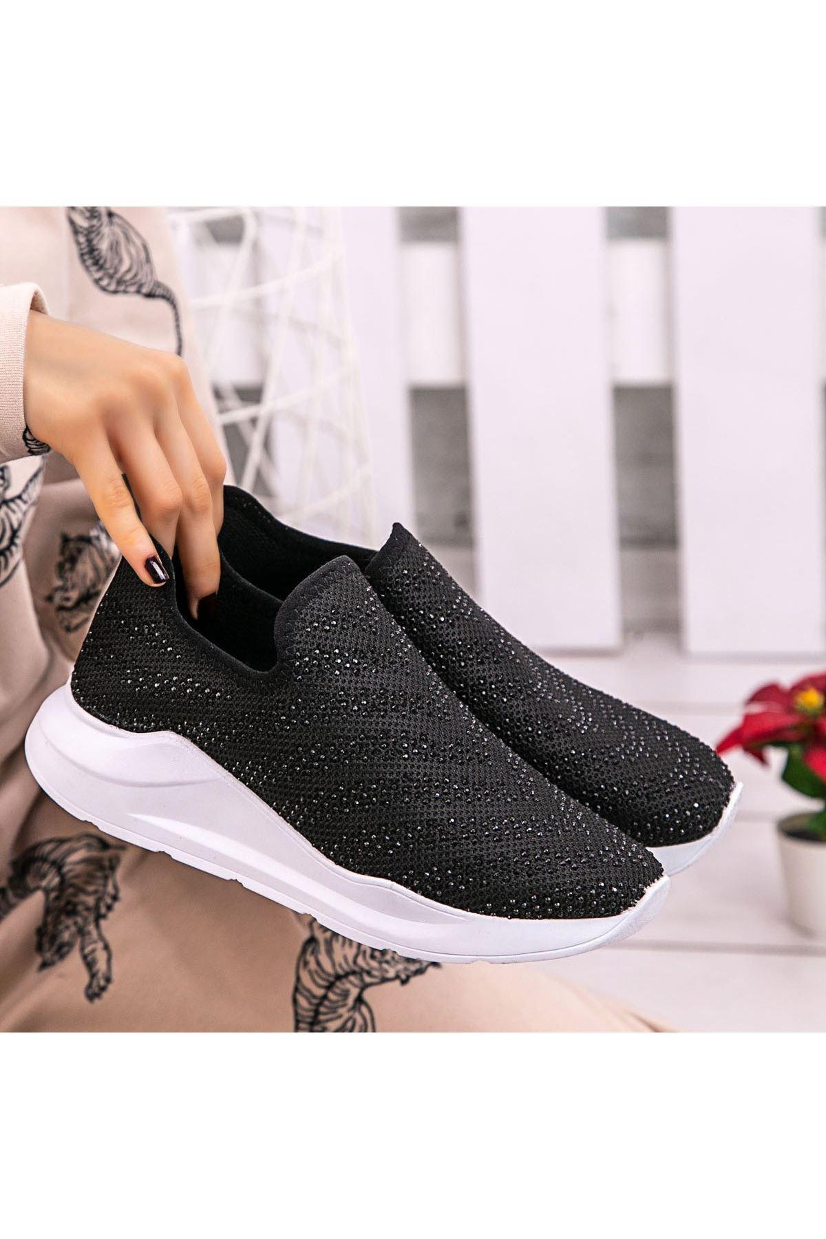 Fend Siyah Streç Spor Ayakkabı