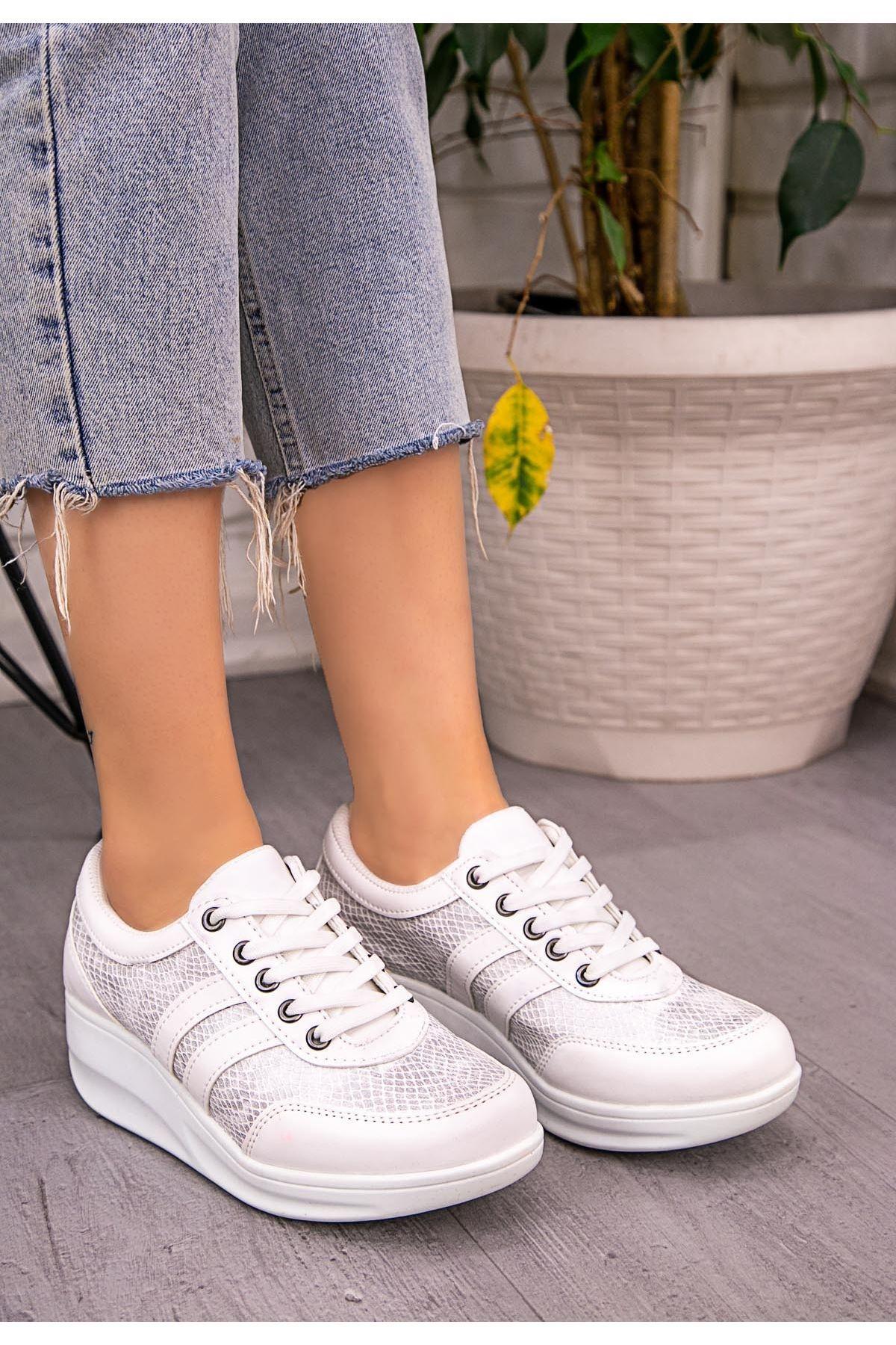 Serc Beyaz Rugan Fileli Bağcıklı Spor Ayakkabı