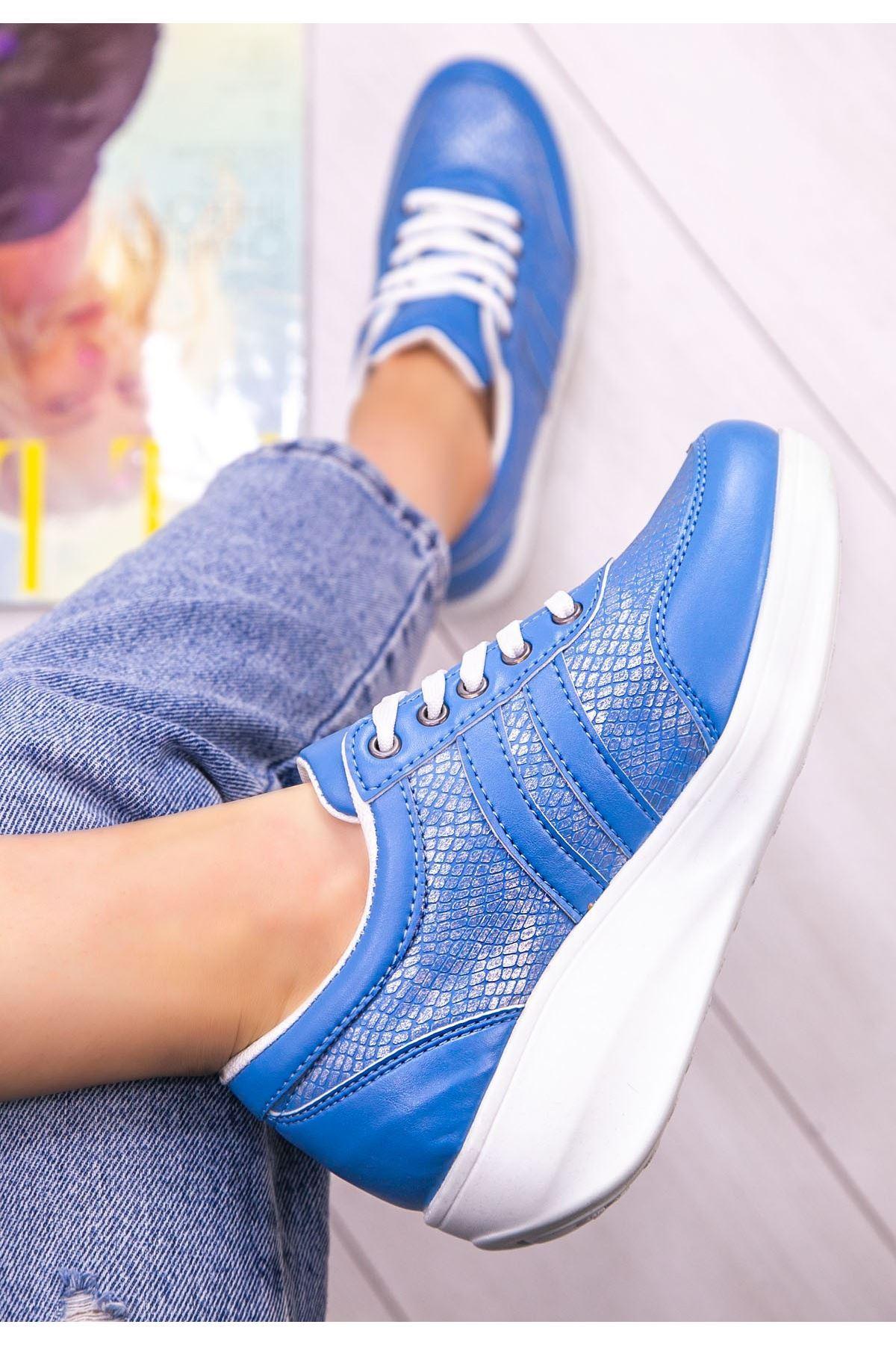 Tinos Bebe Mavisi Cilt Bağcıklı Spor Ayakkabı
