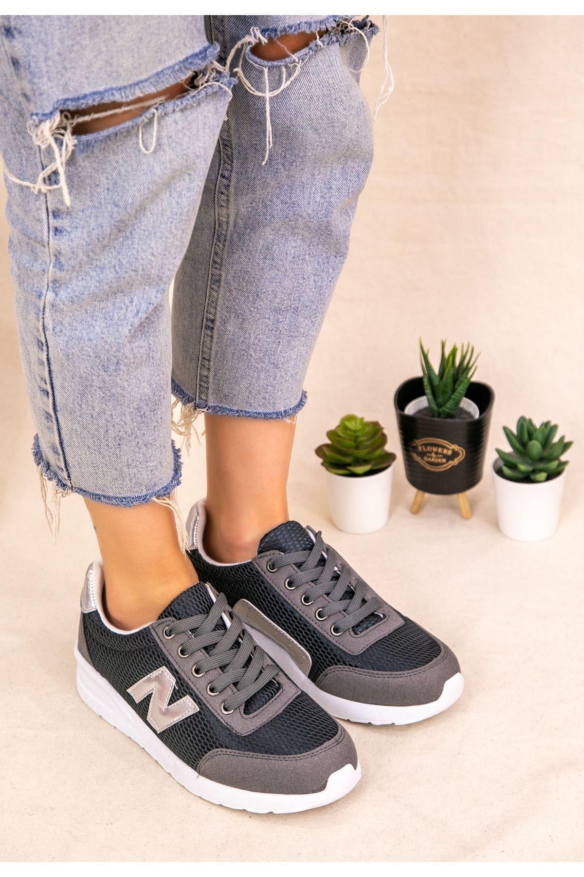 Serc Gri Nubuk Bağcıklı Spor Ayakkabı