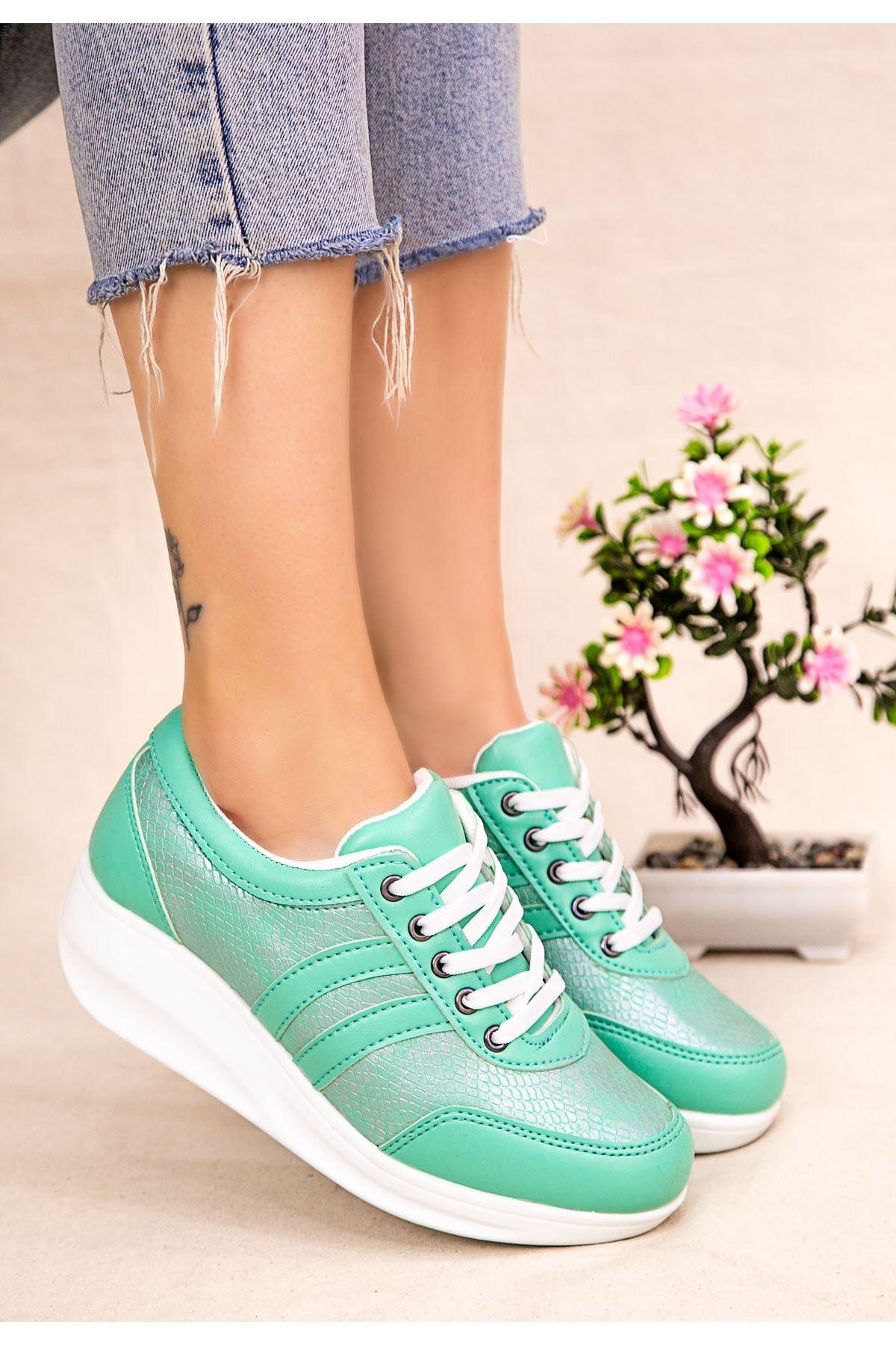 Tinos Yeşil Cilt Bağcıklı Spor Ayakkabı