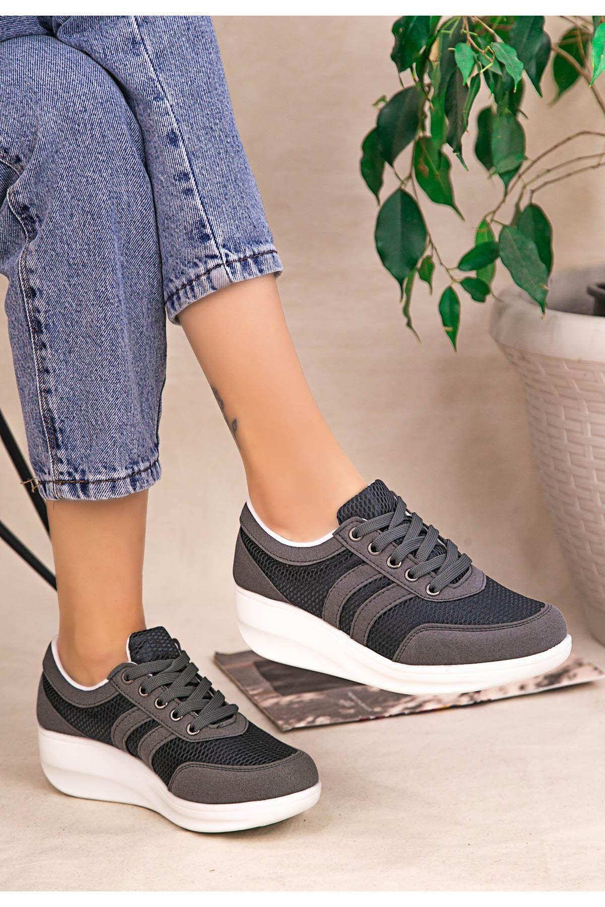 Tinos Gri Nubuk Bağcıklı Spor Ayakkabı