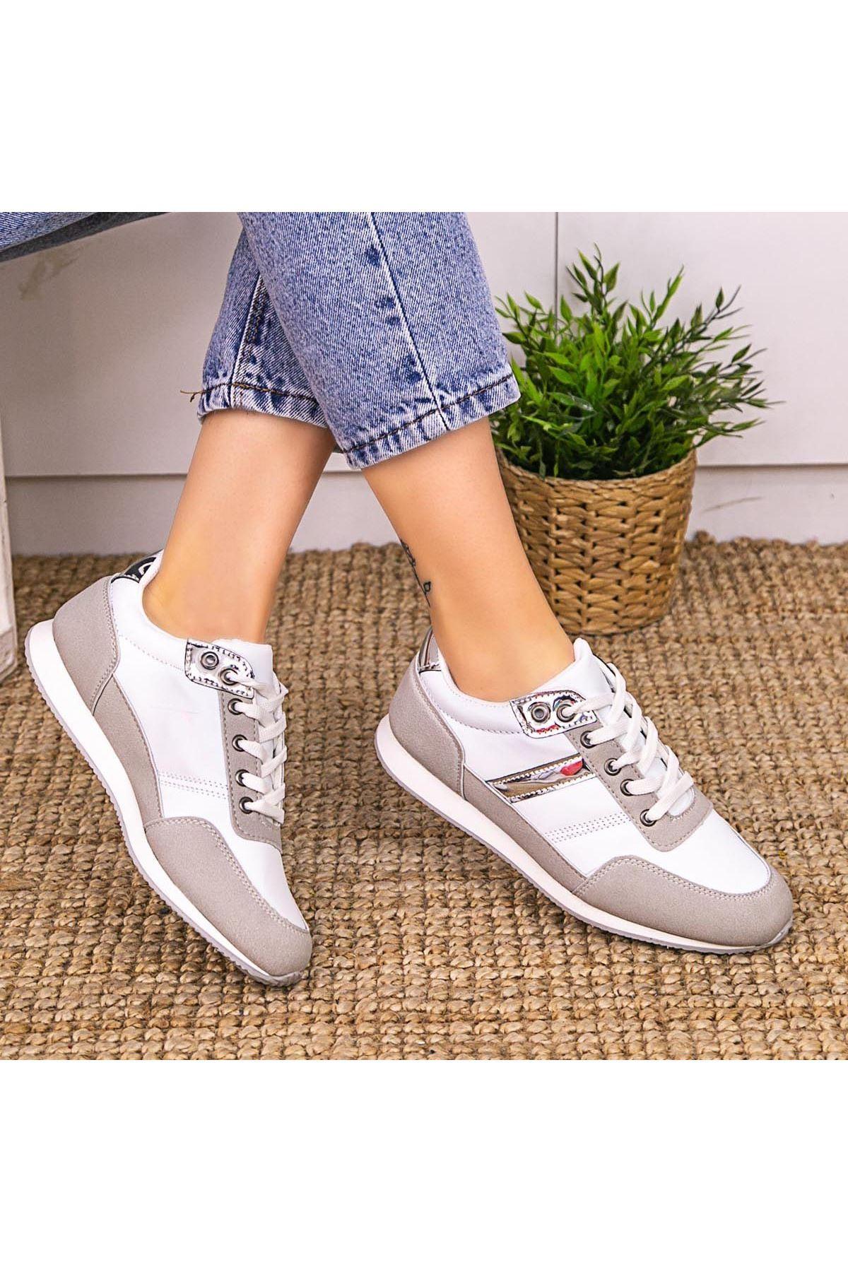 Ctus Beyaz Cilt Vizon Detaylı Spor Ayakkabı