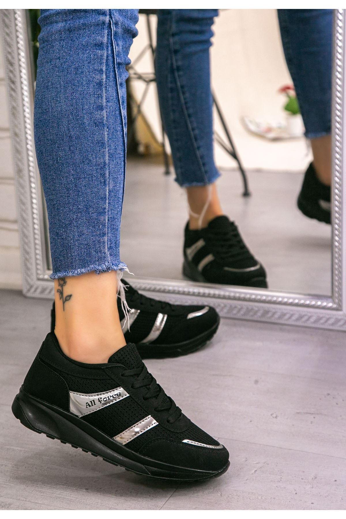 Ctus Siyah Nubuk Bağcıklı Spor Ayakkabı