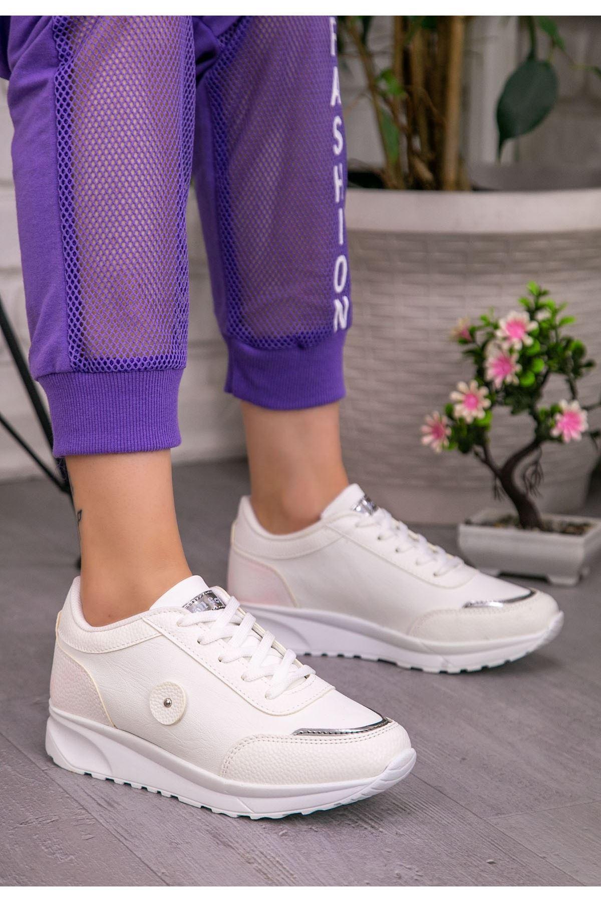 Ornu Beyaz Cilt Bağcıklı Spor Ayakkabı