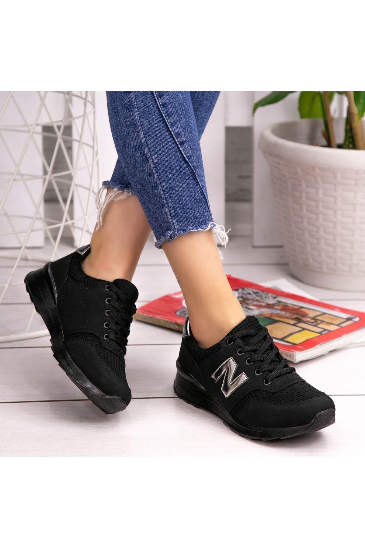 Serc Siyah Nubuk Fileli Bağcıklı Spor Ayakkabı