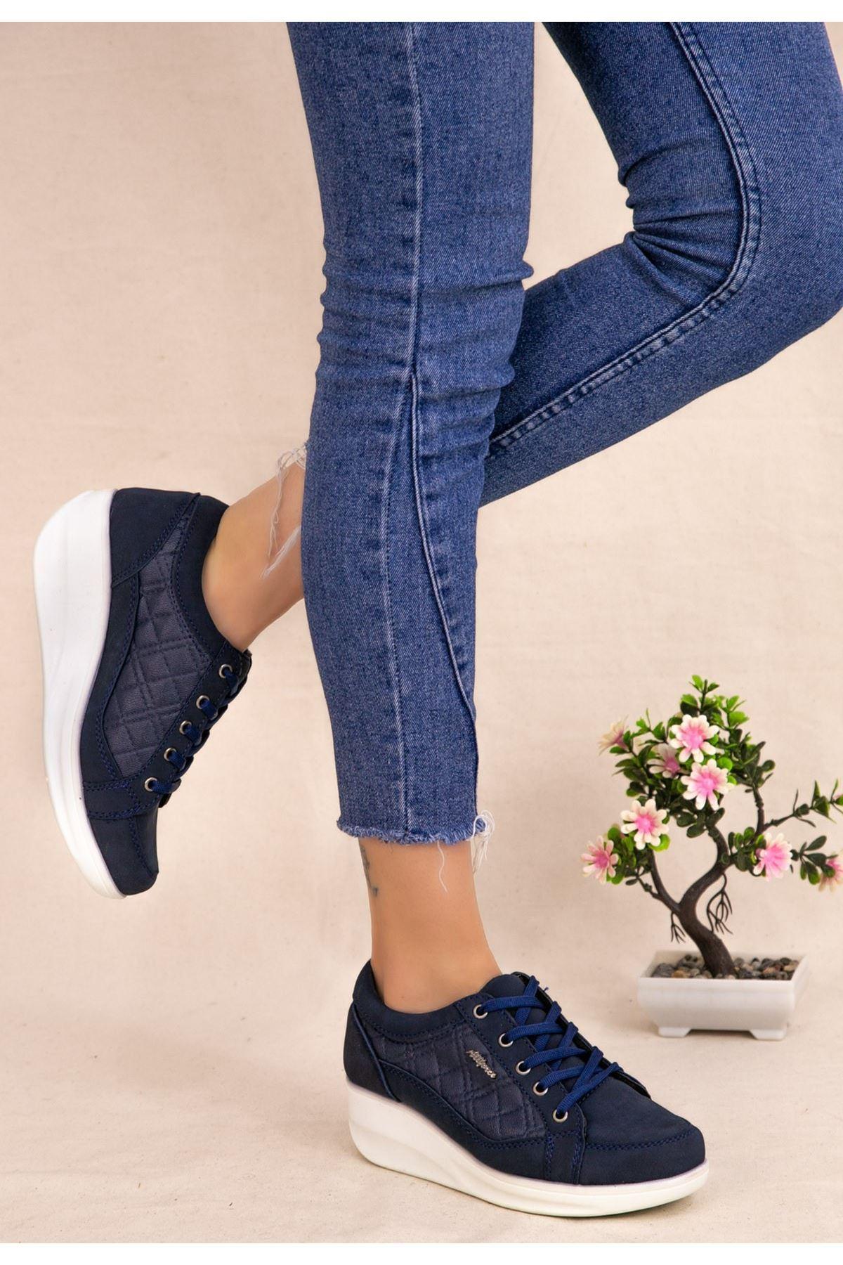 Leva Lacivert Nubuk Bağcıklı Spor Ayakkabı