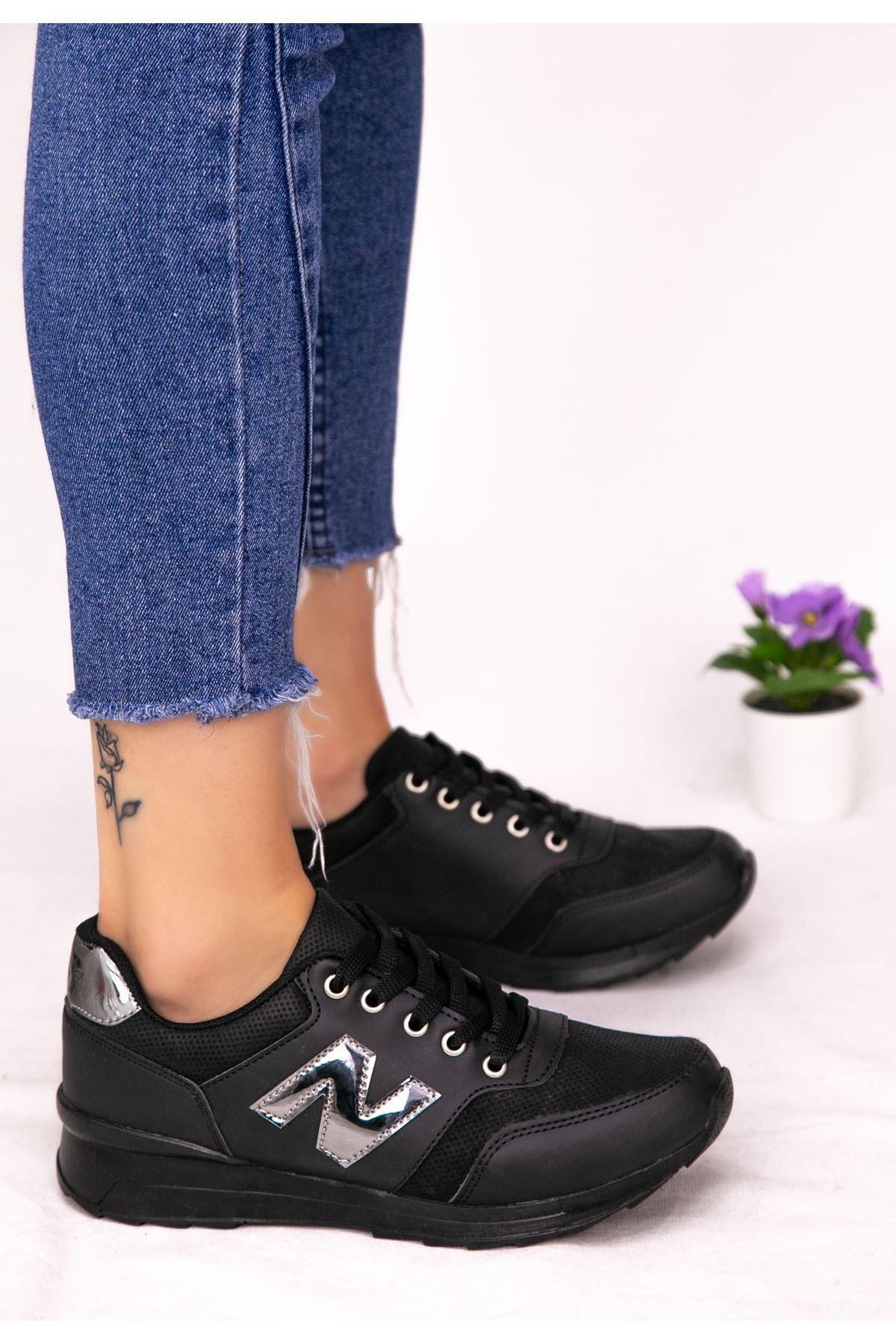 Serc Siyah Rugan Fileli Bağcıklı Spor Ayakkabı