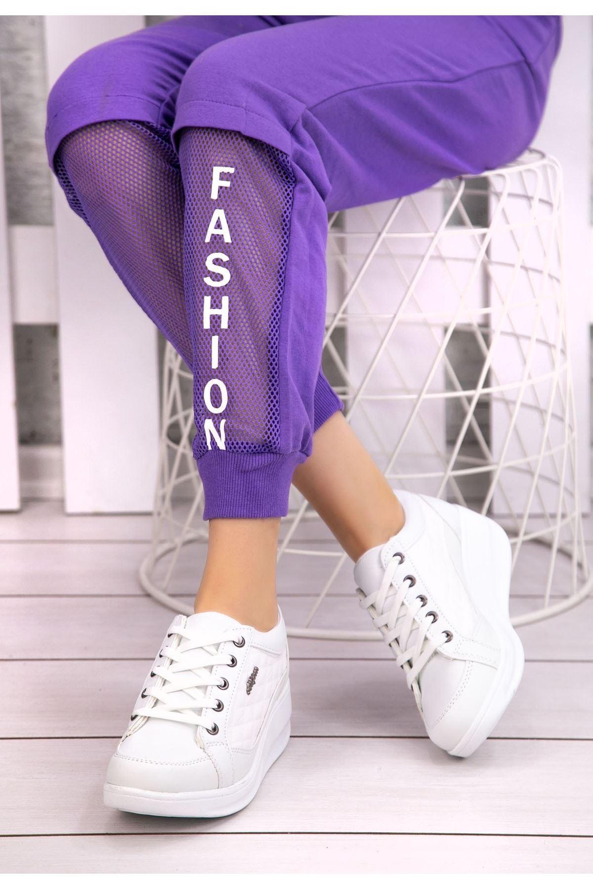 Leva Beyaz Cilt Bağcıklı Spor Ayakkabı