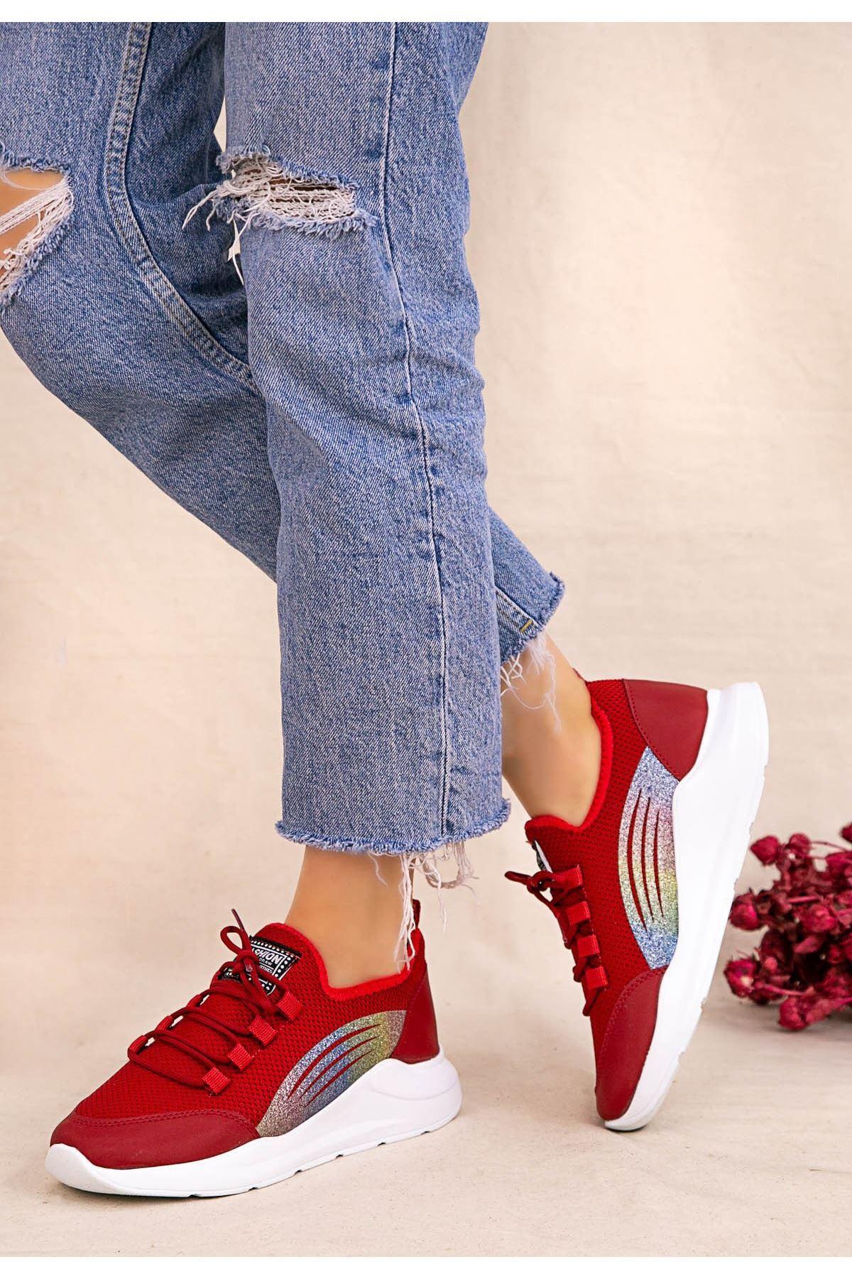 Crid Kırmızı Cilt Bağcıklı Spor Ayakkabı