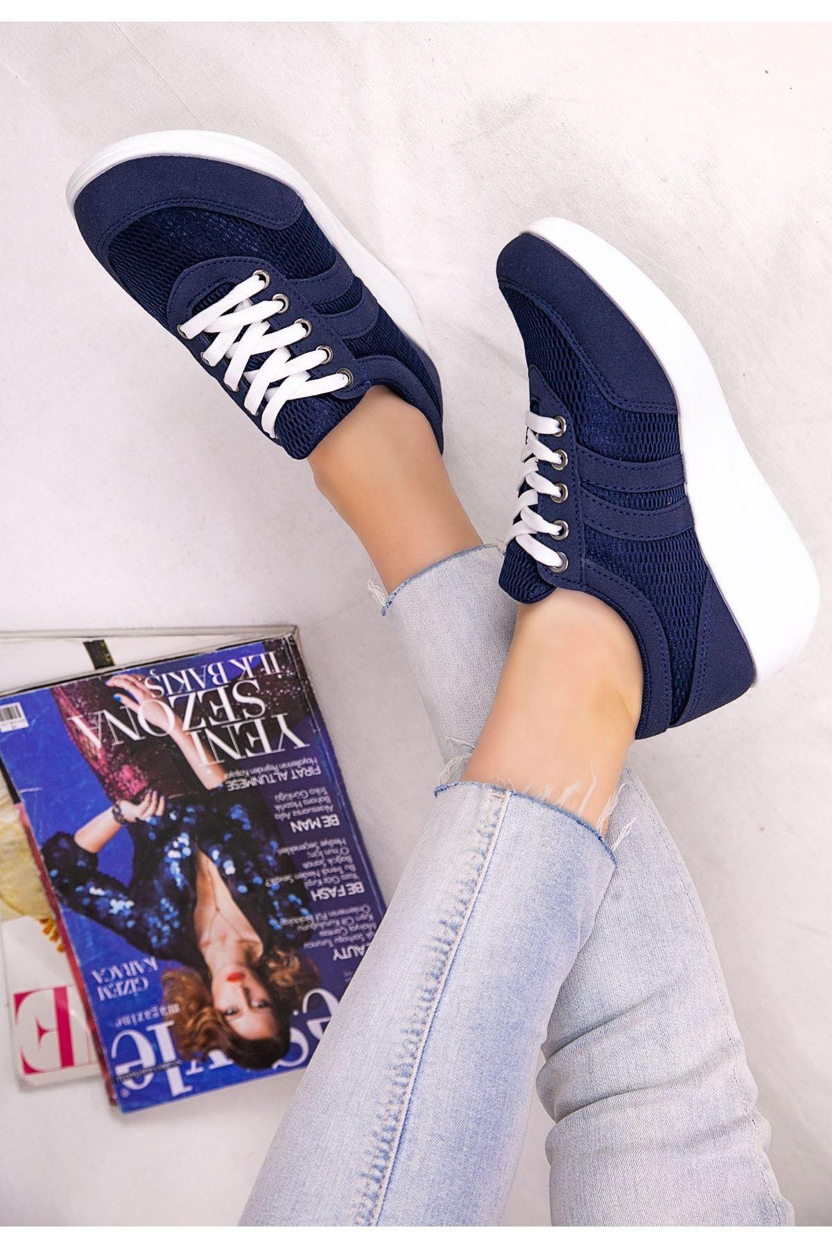 Tinos Lacivert Nubuk Bağcıklı Spor Ayakkabı