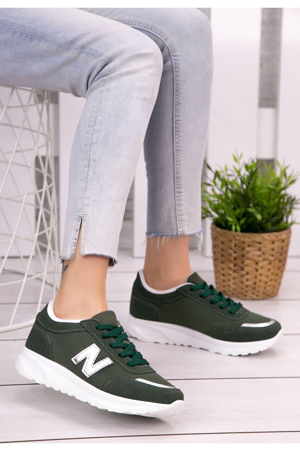 Serc Haki Yeşil Nubuk Bağcıklı Spor Ayakkabı