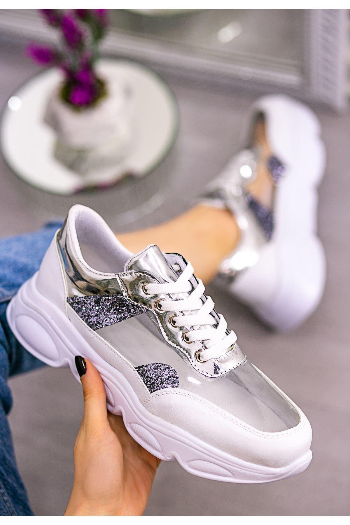 Tonix Beyaz Cilt Gümüş Simli Spor Ayakkabı