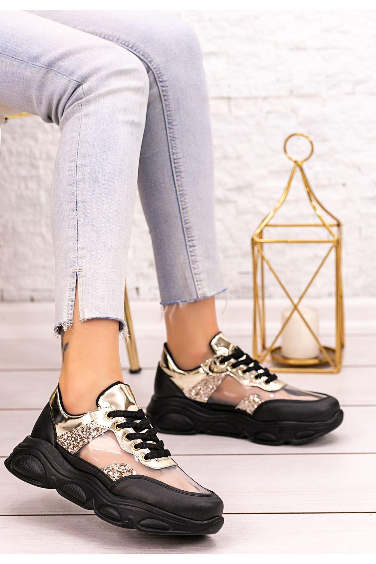 Tonix Siyah Cilt Gold Simli Spor Ayakkabı