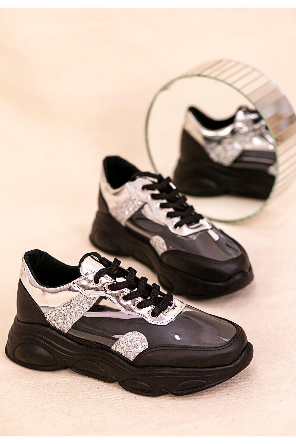 Tonix Siyah Cilt Gümüş Simli Spor Ayakkabı