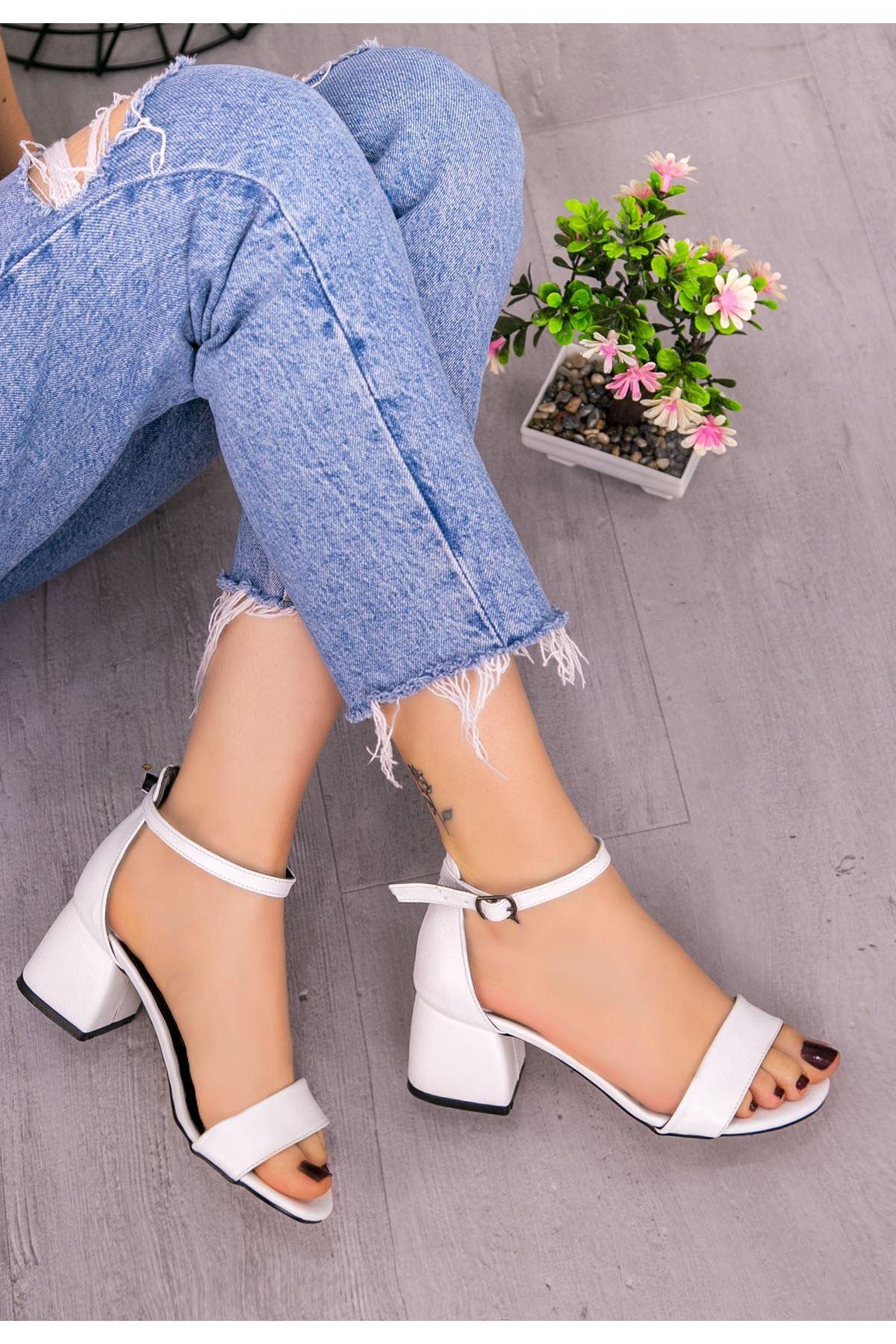 Epon Beyaz Cilt Desenli Tek Bant Ayakkabı