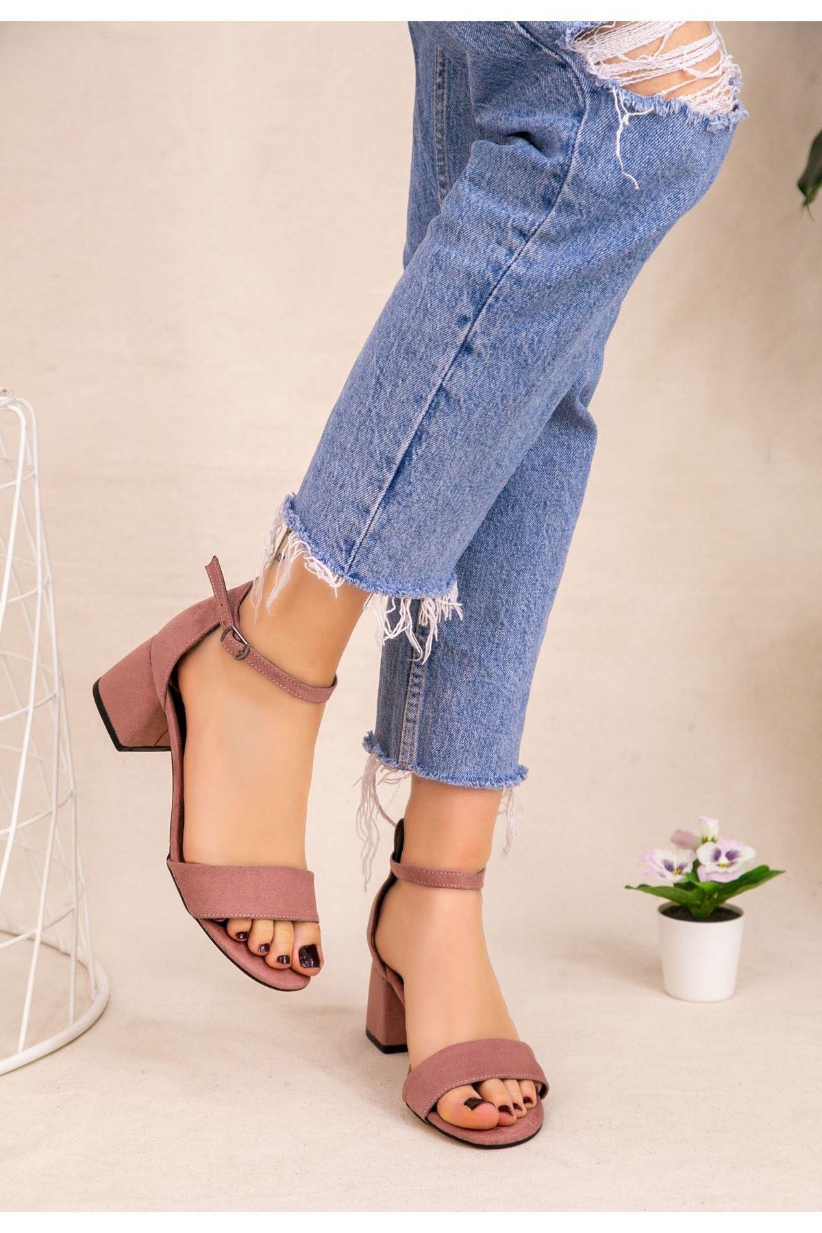 Epon Pudra Süet Tek Bant Topuklu Ayakkabı