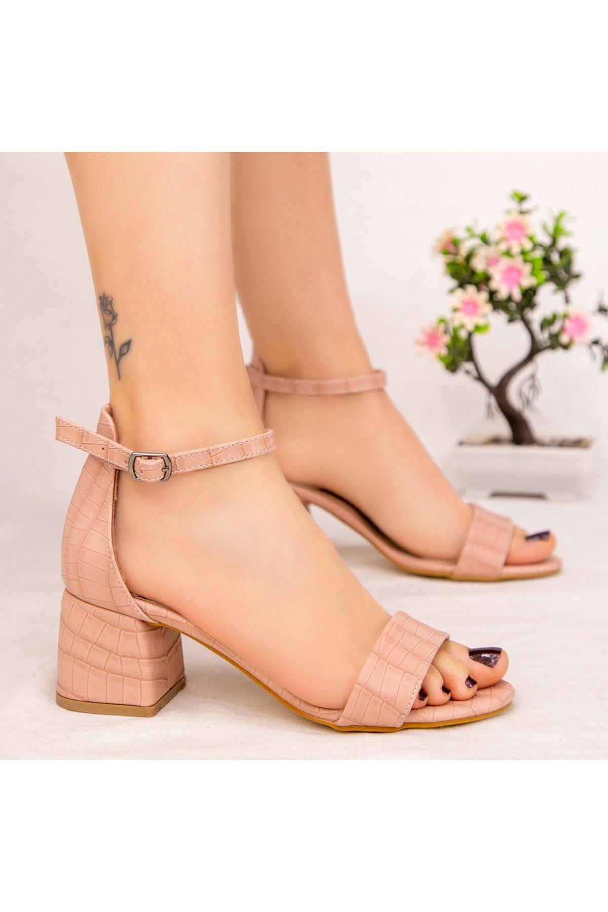 Epon Pudra Cilt Desenli Tek Bant Topuklu Ayakkabı